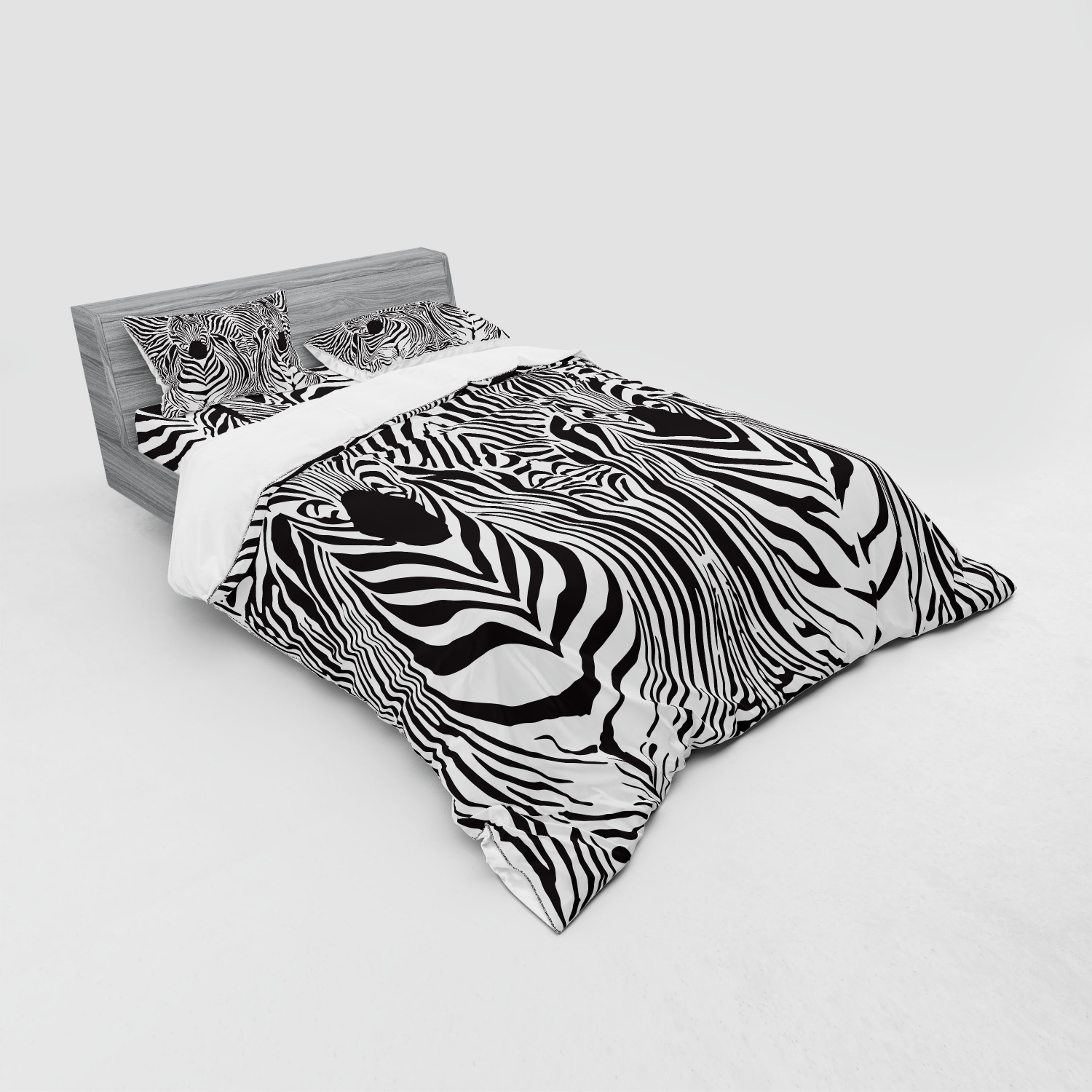 thumbnail 179 - Ambesonne Black White Art Bedding Set Duvet Cover Sham Fitted Sheet in 3 Sizes