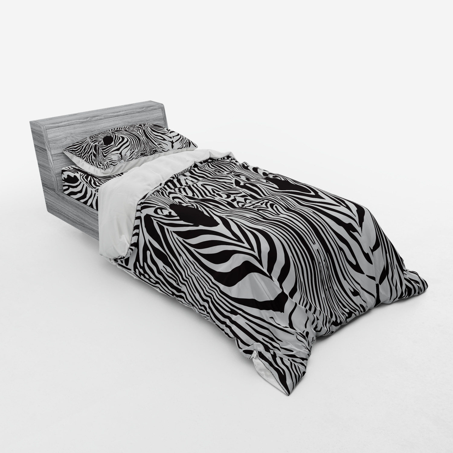 thumbnail 177 - Ambesonne Black White Art Bedding Set Duvet Cover Sham Fitted Sheet in 3 Sizes