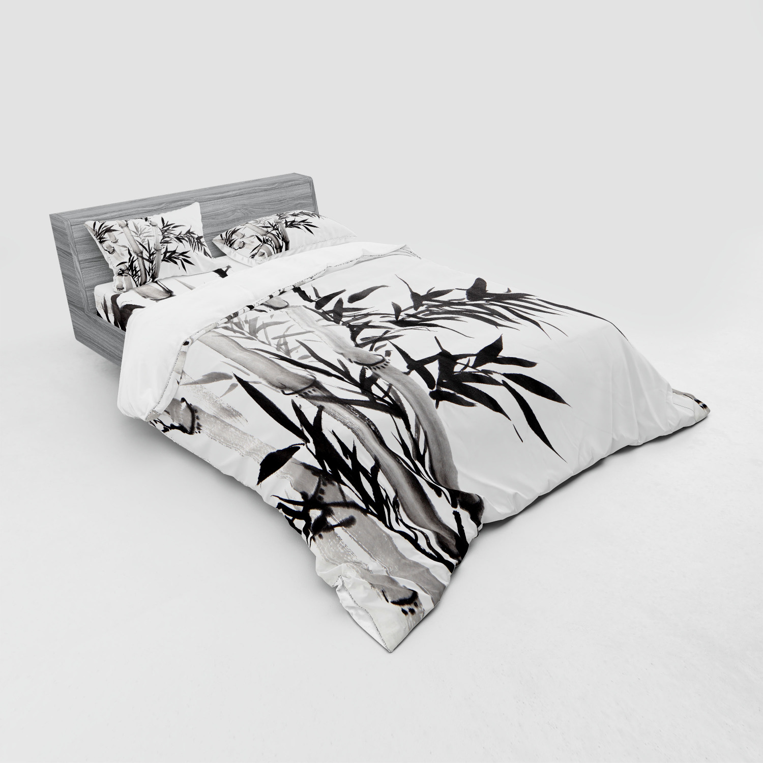 thumbnail 59 - Ambesonne Black White Art Bedding Set Duvet Cover Sham Fitted Sheet in 3 Sizes