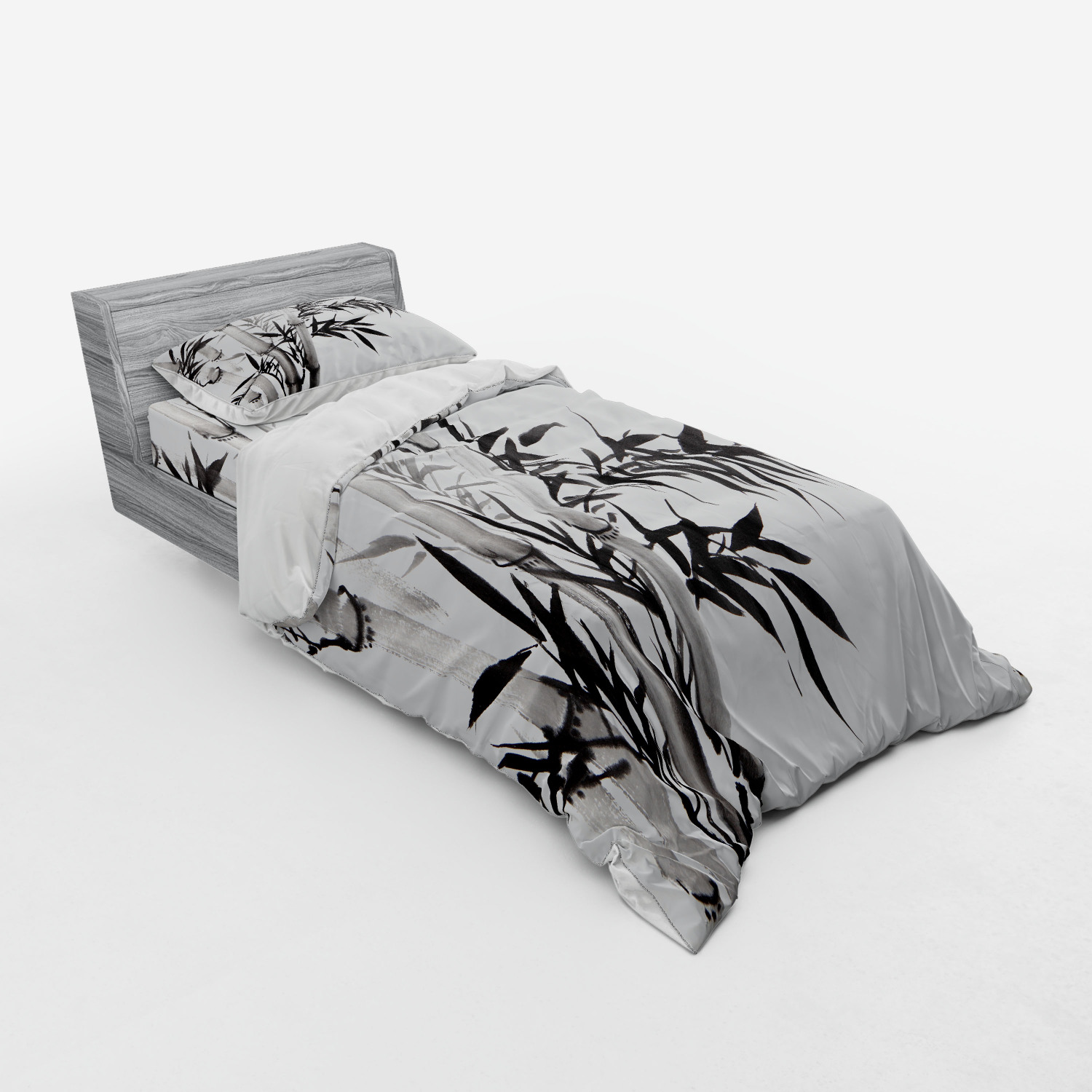 thumbnail 57 - Ambesonne Black White Art Bedding Set Duvet Cover Sham Fitted Sheet in 3 Sizes