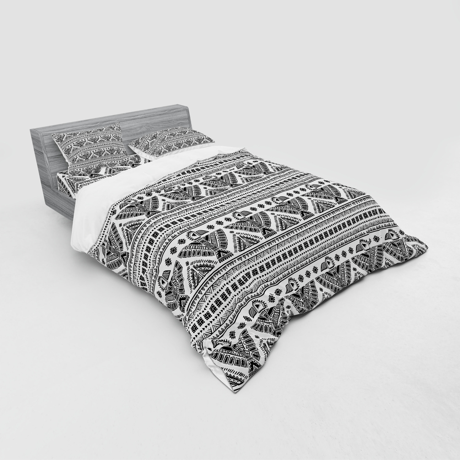 thumbnail 75 - Ambesonne Black White Art Bedding Set Duvet Cover Sham Fitted Sheet in 3 Sizes