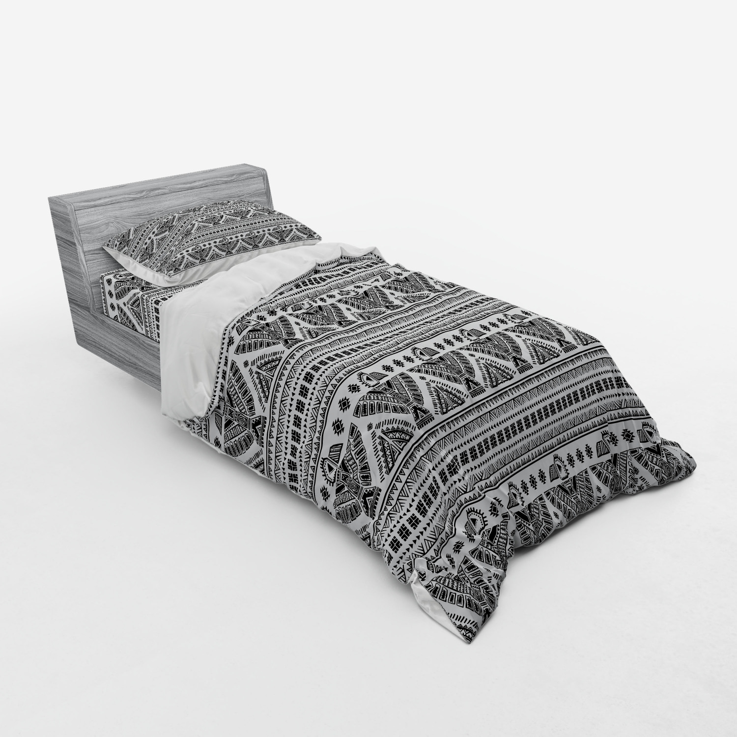 thumbnail 73 - Ambesonne Black White Art Bedding Set Duvet Cover Sham Fitted Sheet in 3 Sizes