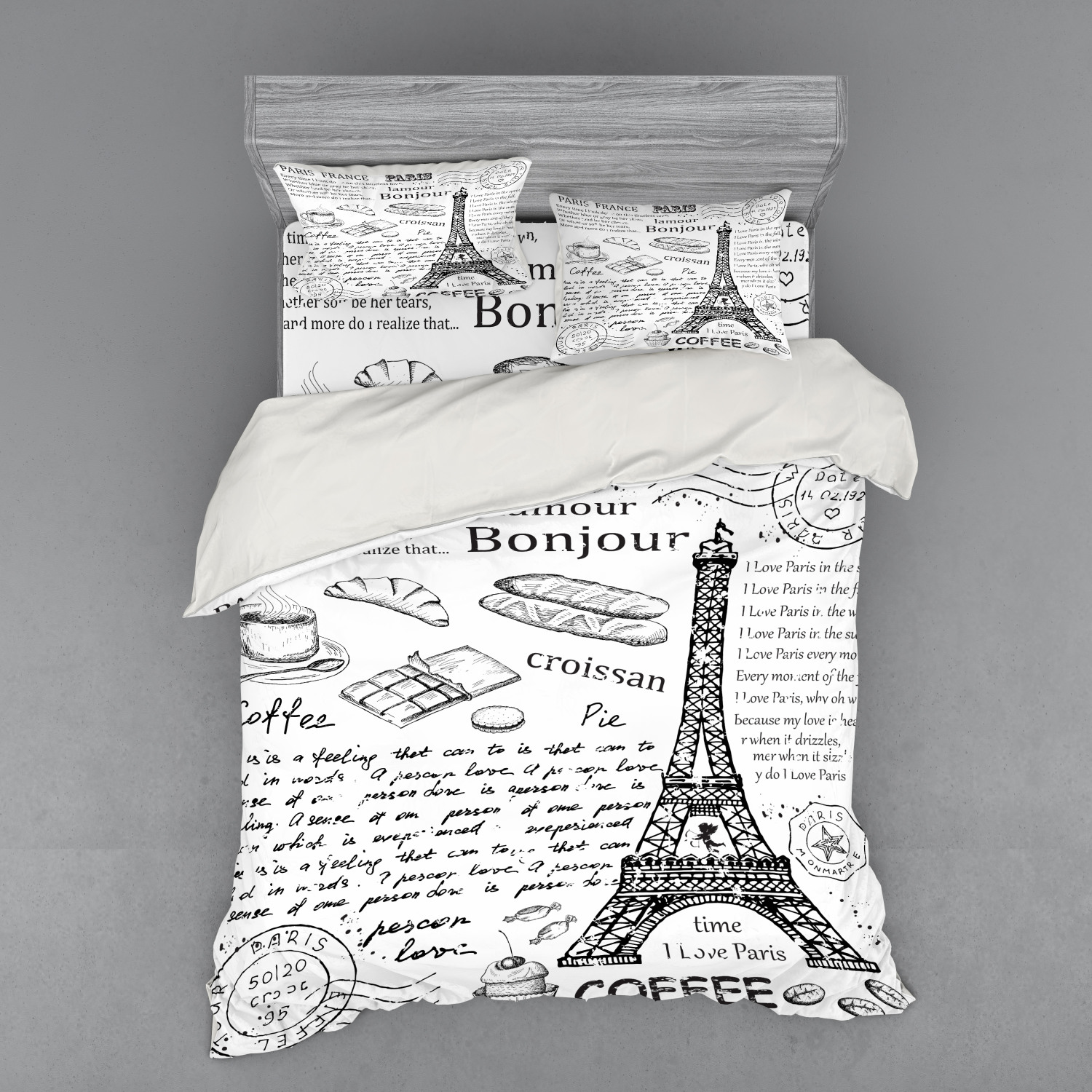 thumbnail 42 - Ambesonne Black White Art Bedding Set Duvet Cover Sham Fitted Sheet in 3 Sizes
