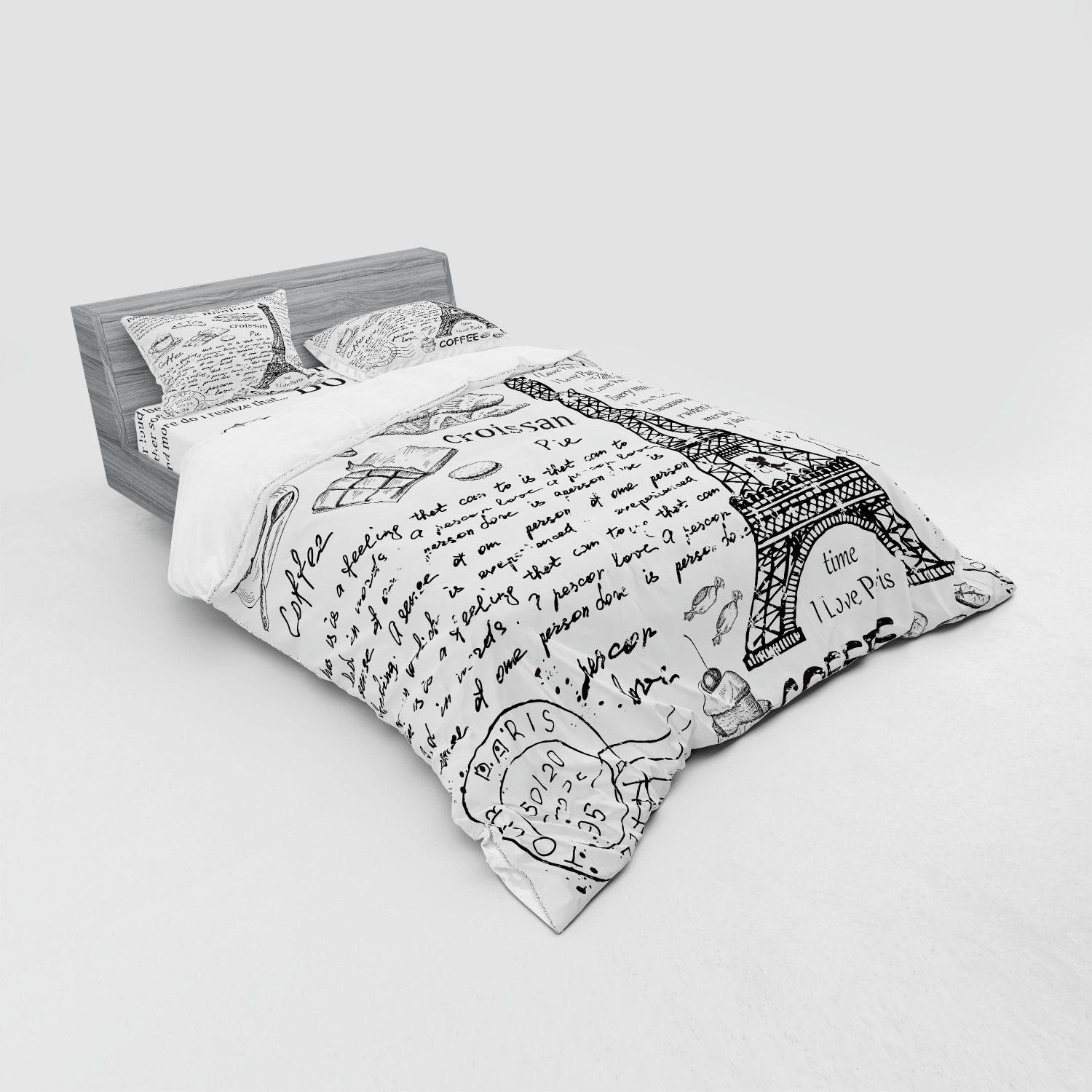 thumbnail 43 - Ambesonne Black White Art Bedding Set Duvet Cover Sham Fitted Sheet in 3 Sizes