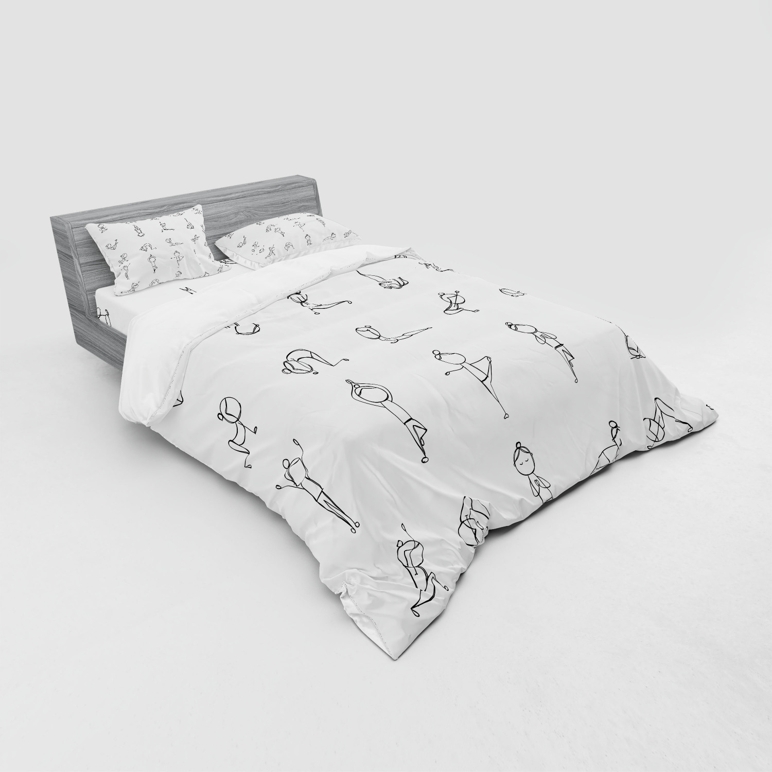 thumbnail 195 - Ambesonne Black White Art Bedding Set Duvet Cover Sham Fitted Sheet in 3 Sizes