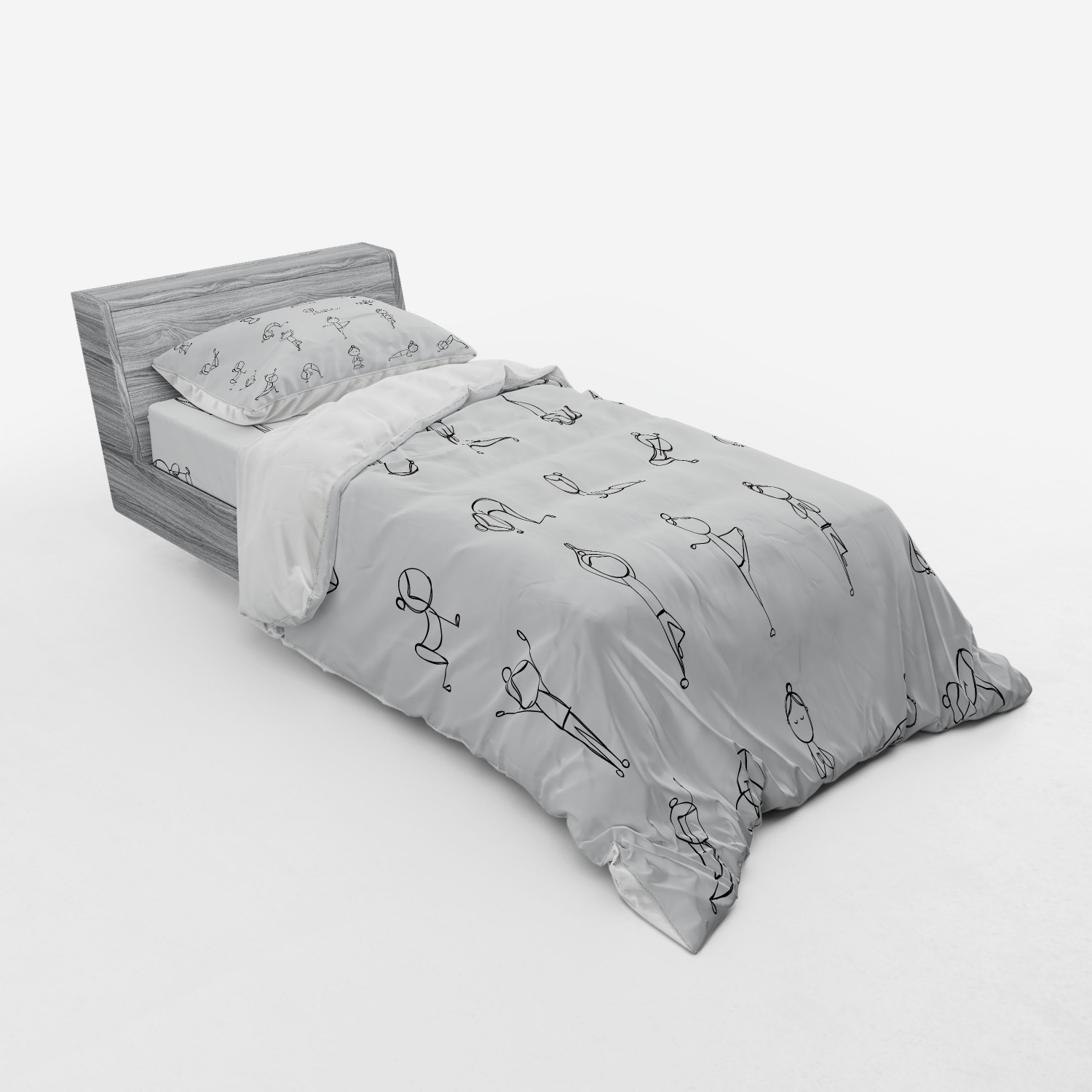 thumbnail 193 - Ambesonne Black White Art Bedding Set Duvet Cover Sham Fitted Sheet in 3 Sizes