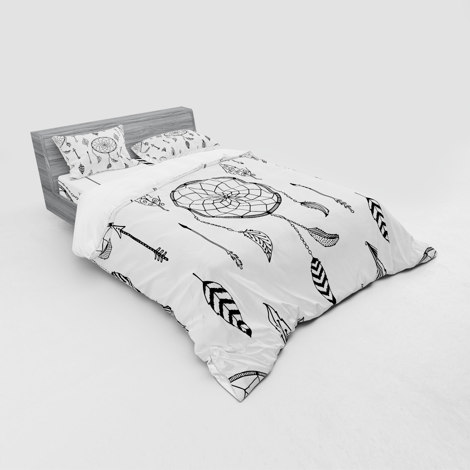 thumbnail 95 - Ambesonne Black White Art Bedding Set Duvet Cover Sham Fitted Sheet in 3 Sizes