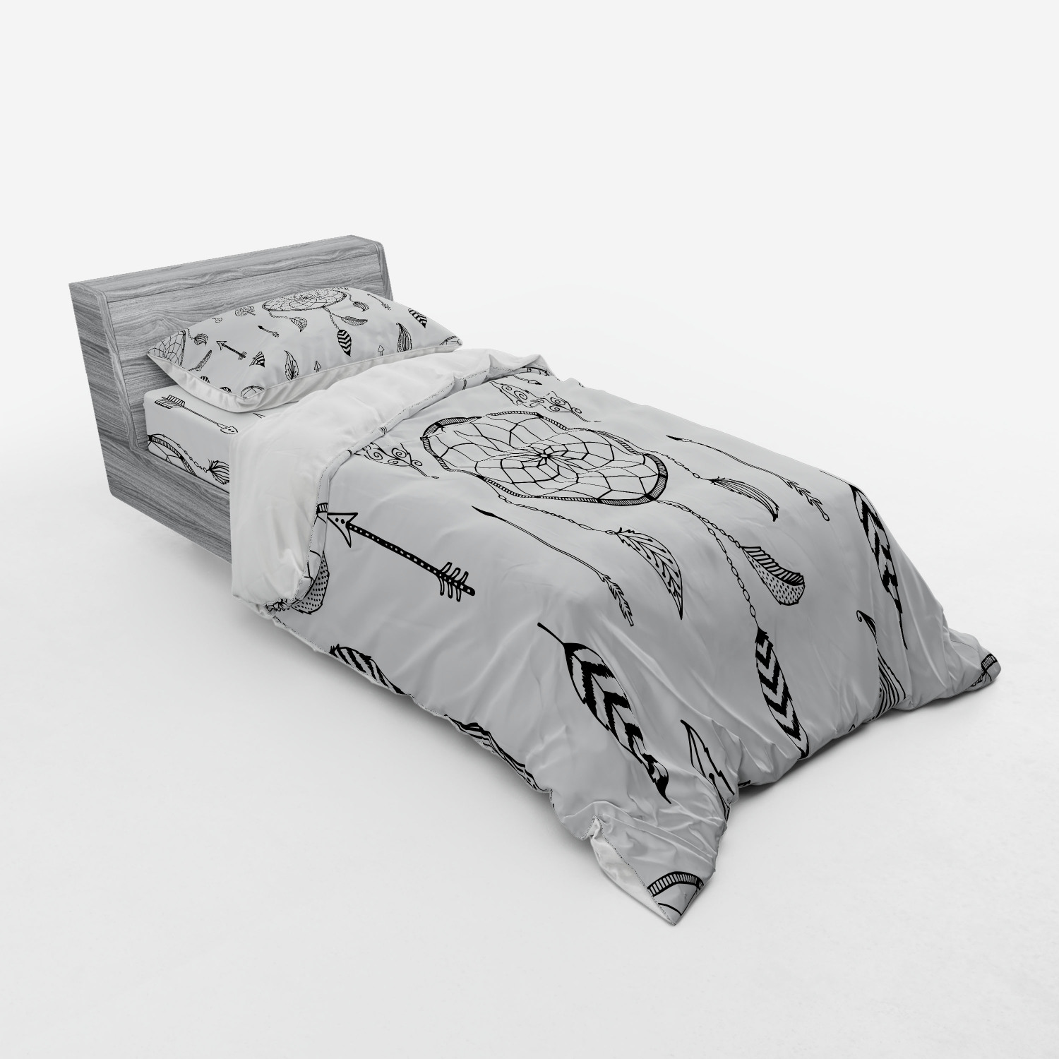 thumbnail 93 - Ambesonne Black White Art Bedding Set Duvet Cover Sham Fitted Sheet in 3 Sizes