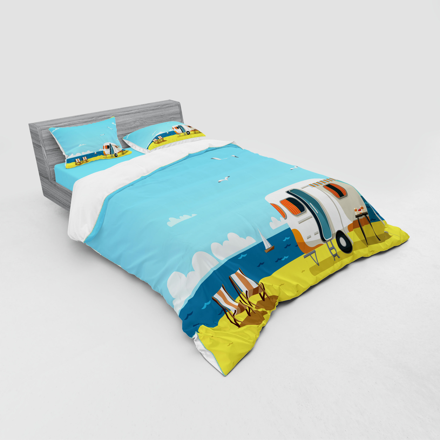 thumbnail 47 - Ambesonne Summer Bedding Set Duvet Cover Sham Fitted Sheet in 3 Sizes