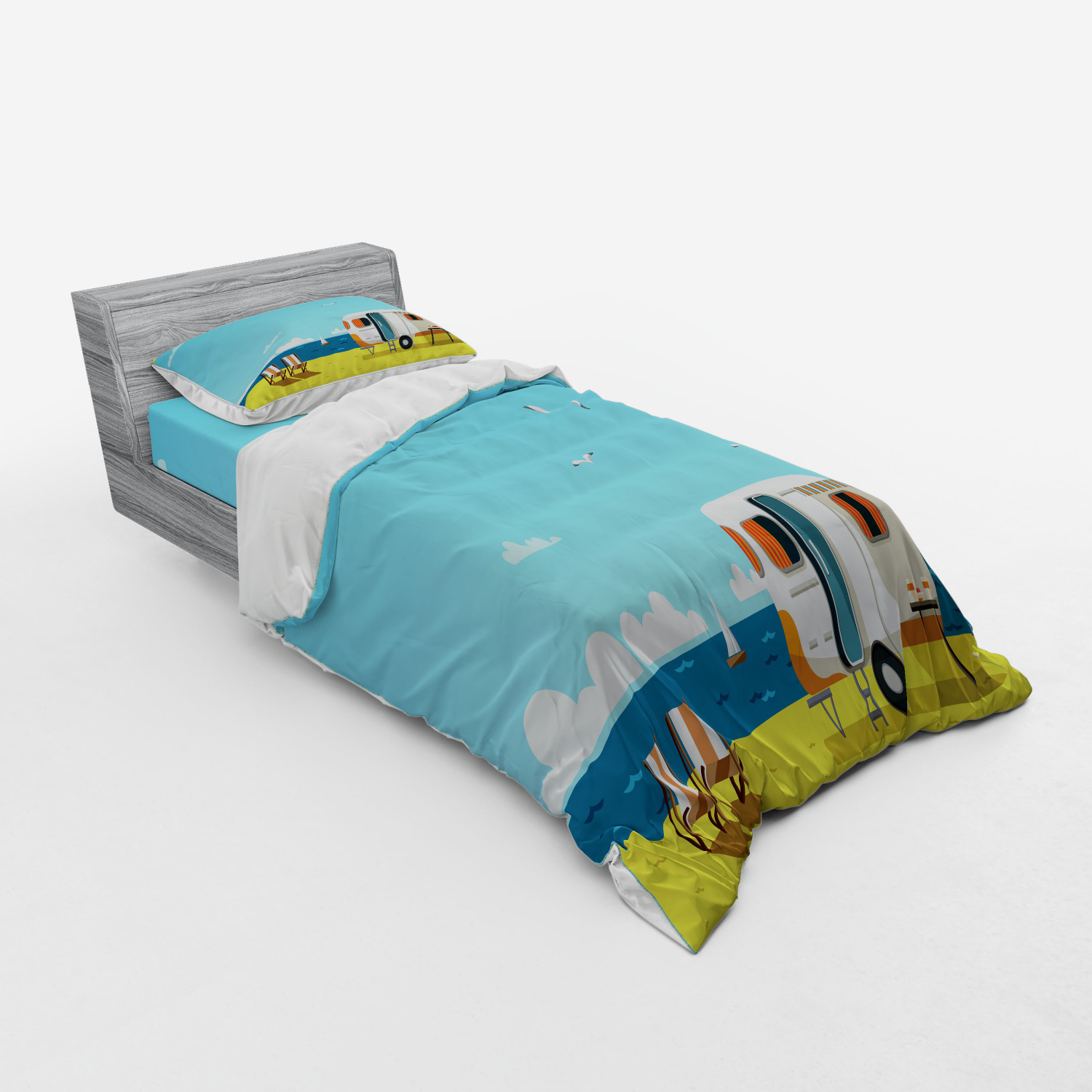 thumbnail 45 - Ambesonne Summer Bedding Set Duvet Cover Sham Fitted Sheet in 3 Sizes