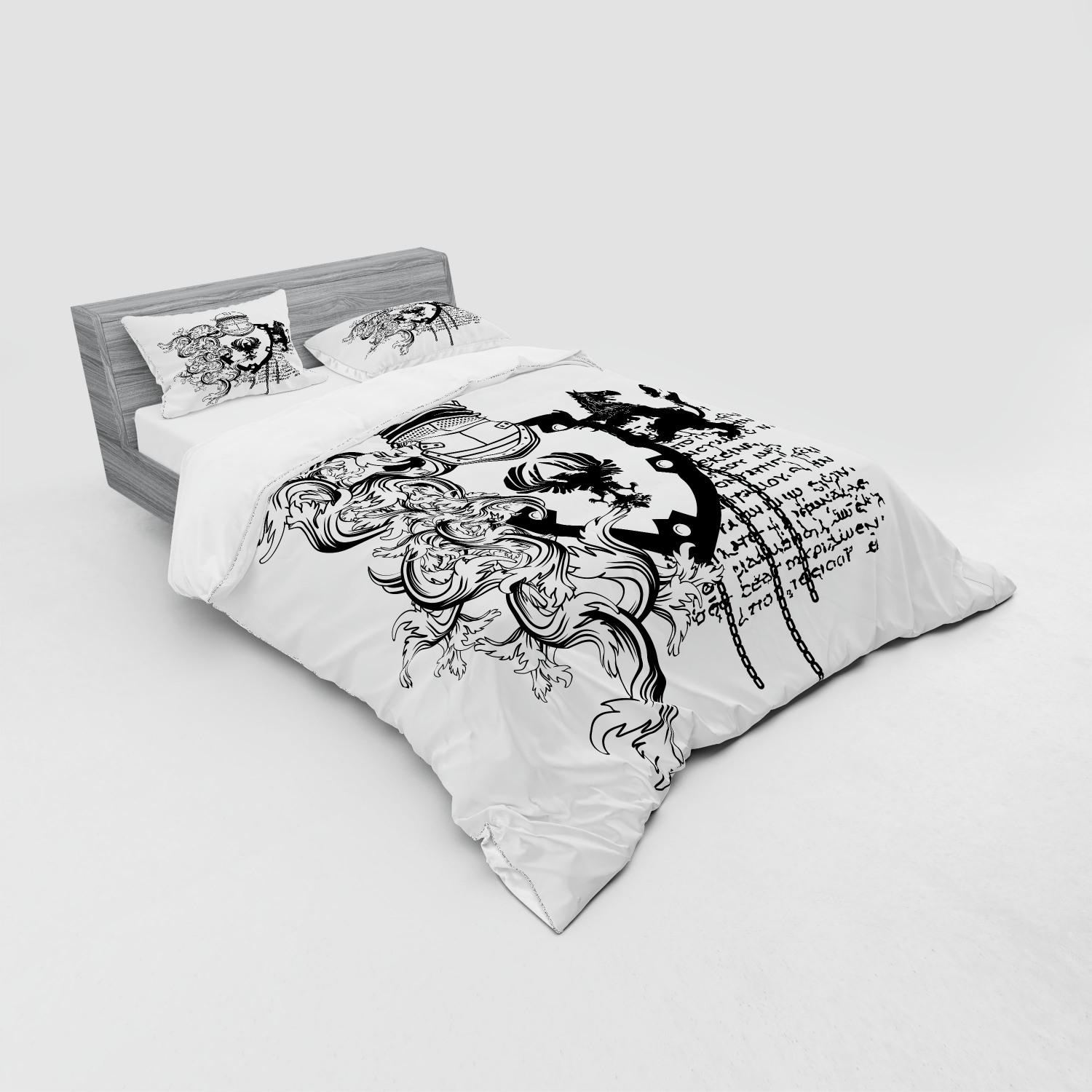 thumbnail 139 - Ambesonne Black White Art Bedding Set Duvet Cover Sham Fitted Sheet in 3 Sizes