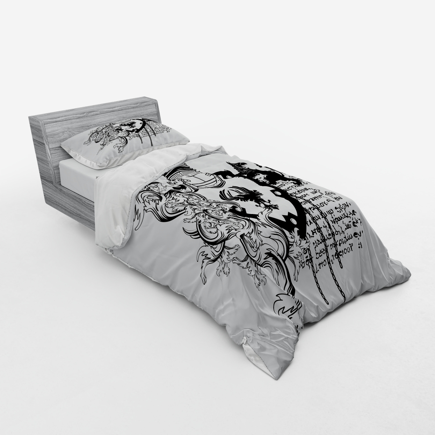 thumbnail 137 - Ambesonne Black White Art Bedding Set Duvet Cover Sham Fitted Sheet in 3 Sizes