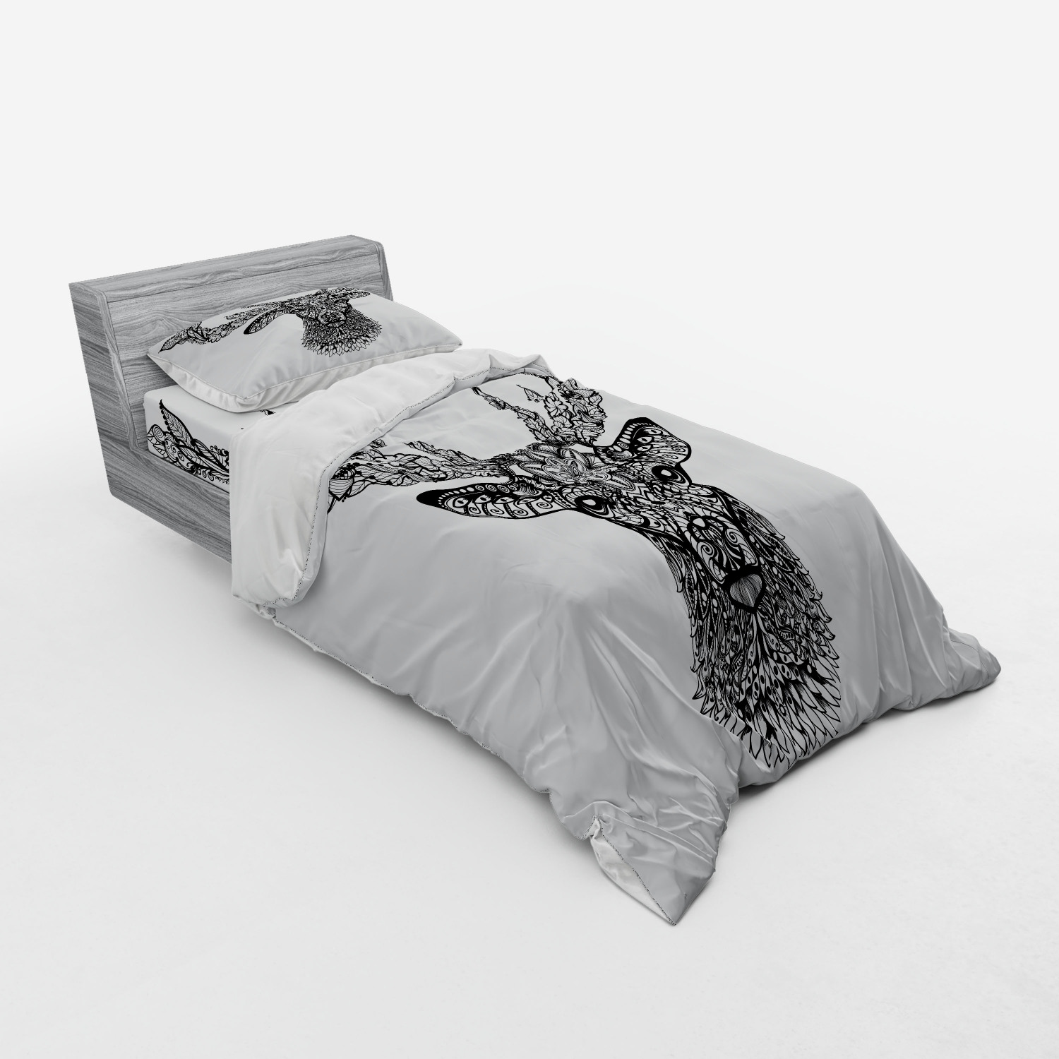 thumbnail 33 - Ambesonne Black White Art Bedding Set Duvet Cover Sham Fitted Sheet in 3 Sizes
