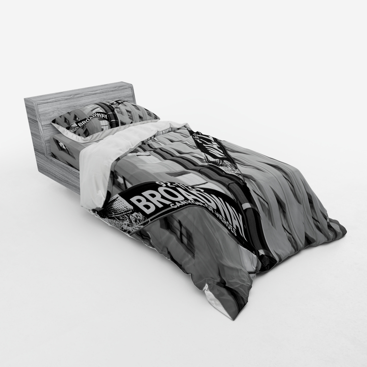 thumbnail 45 - Ambesonne Black White Art Bedding Set Duvet Cover Sham Fitted Sheet in 3 Sizes