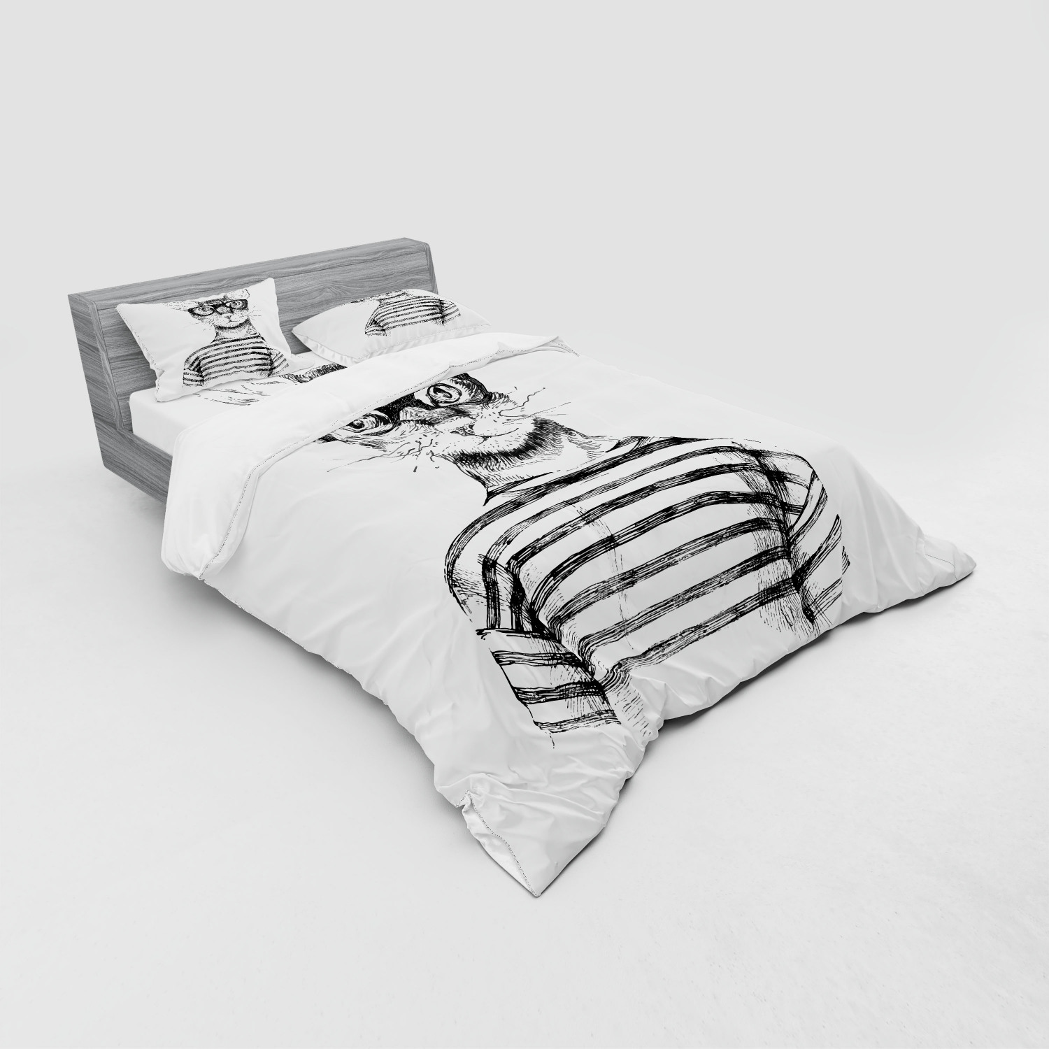 thumbnail 119 - Ambesonne Black White Art Bedding Set Duvet Cover Sham Fitted Sheet in 3 Sizes