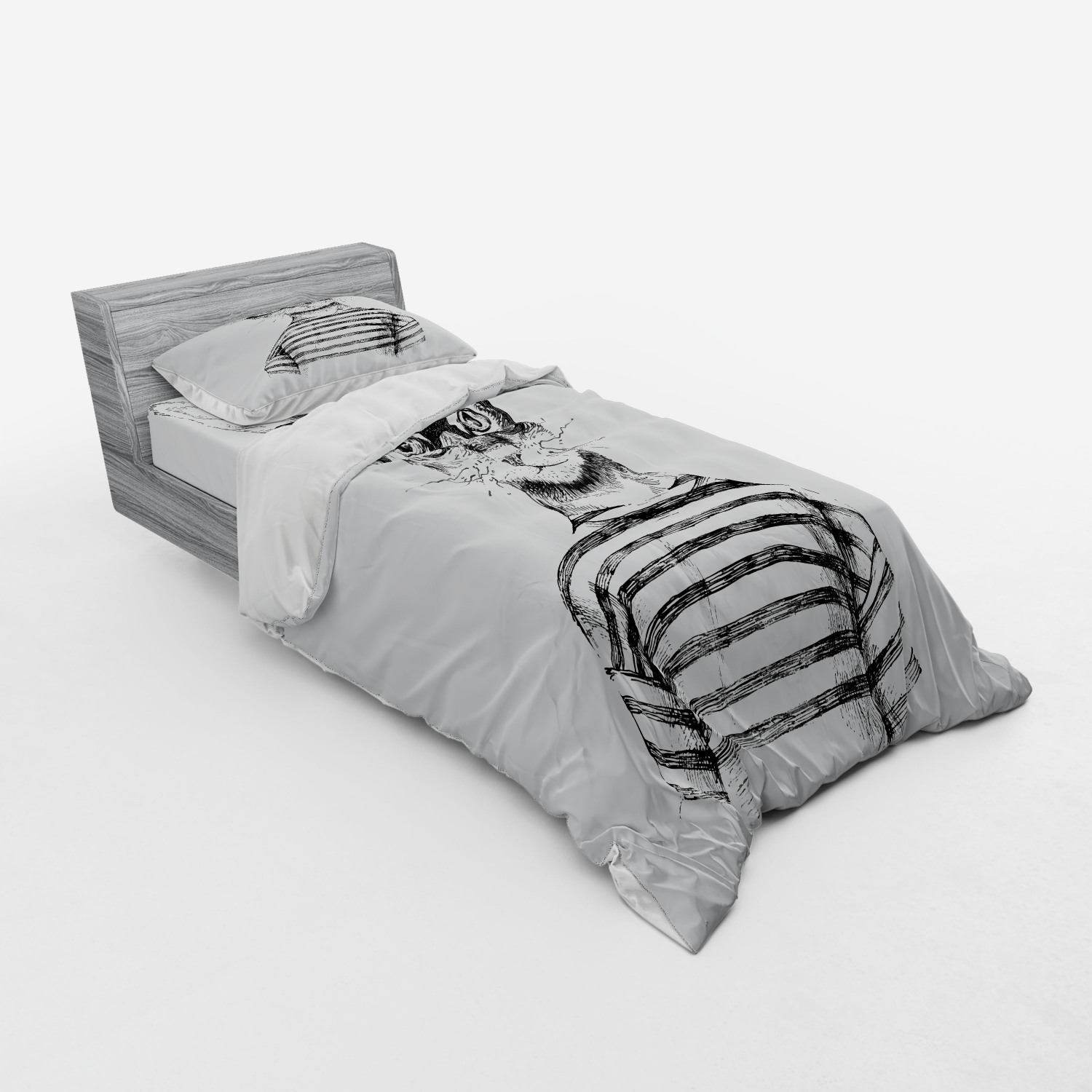 thumbnail 117 - Ambesonne Black White Art Bedding Set Duvet Cover Sham Fitted Sheet in 3 Sizes