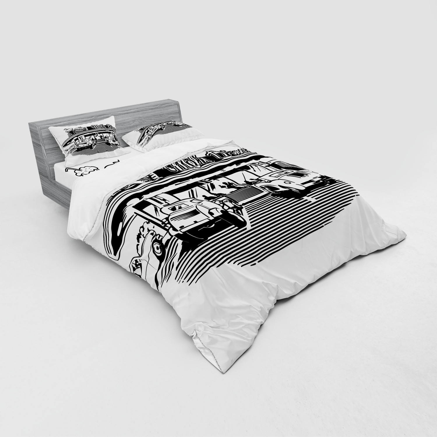 thumbnail 147 - Ambesonne Black White Art Bedding Set Duvet Cover Sham Fitted Sheet in 3 Sizes
