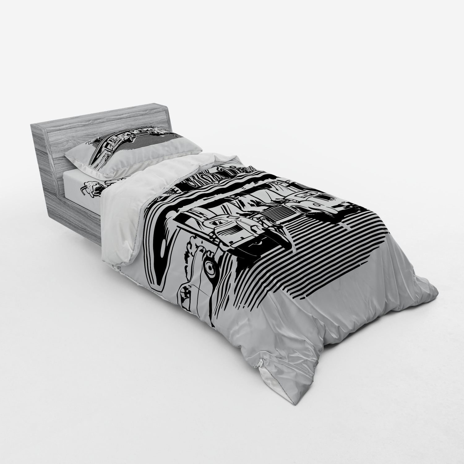 thumbnail 145 - Ambesonne Black White Art Bedding Set Duvet Cover Sham Fitted Sheet in 3 Sizes
