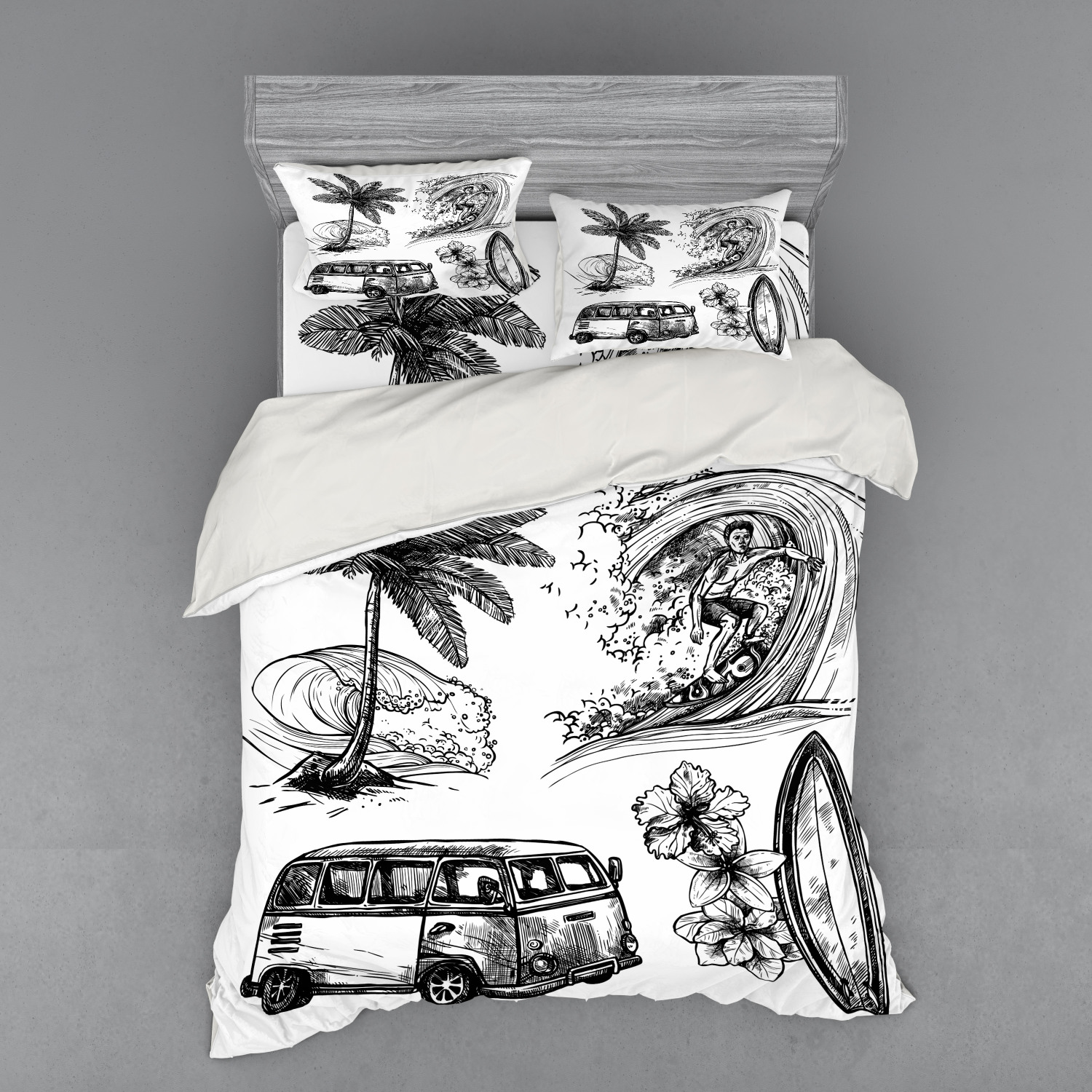 thumbnail 202 - Ambesonne Black White Art Bedding Set Duvet Cover Sham Fitted Sheet in 3 Sizes