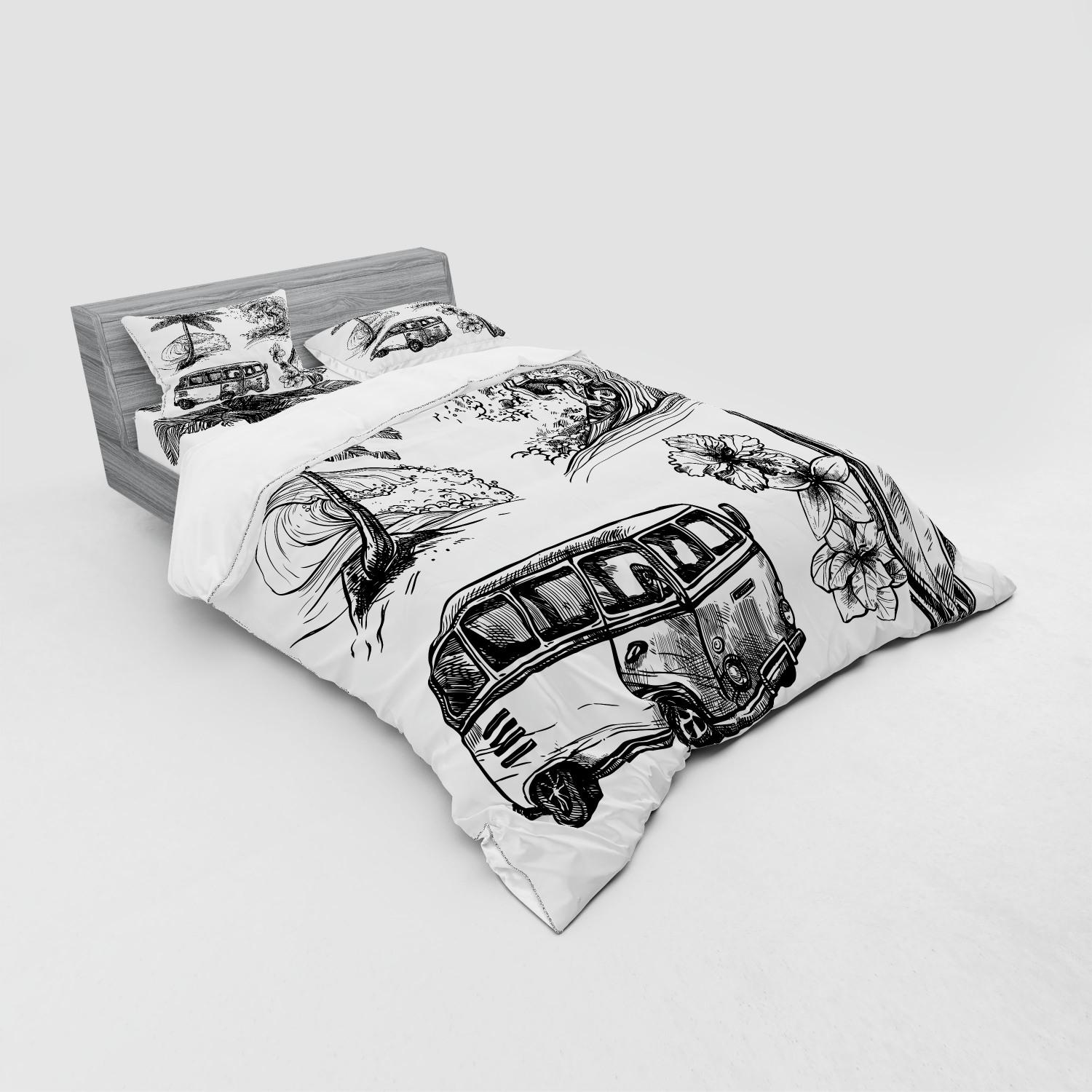 thumbnail 203 - Ambesonne Black White Art Bedding Set Duvet Cover Sham Fitted Sheet in 3 Sizes