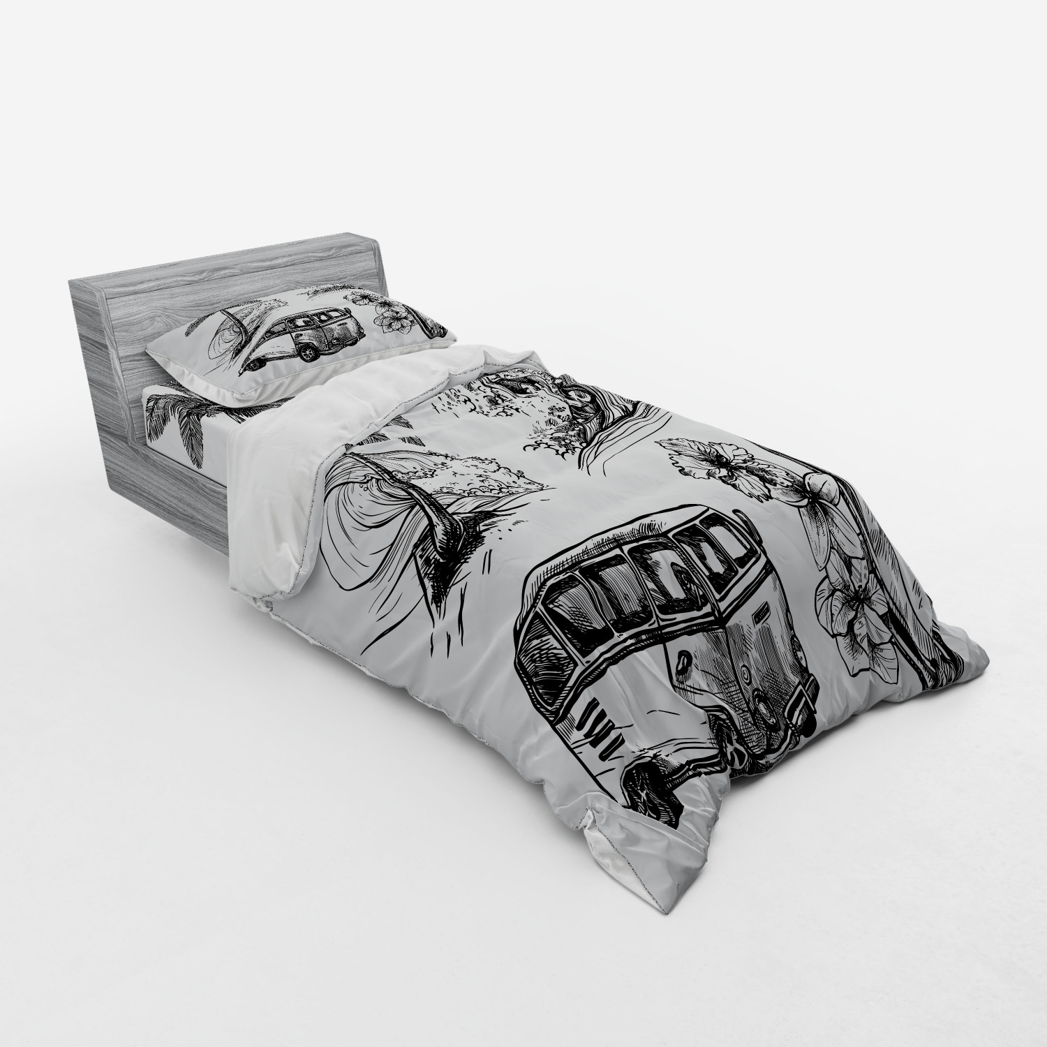 thumbnail 201 - Ambesonne Black White Art Bedding Set Duvet Cover Sham Fitted Sheet in 3 Sizes