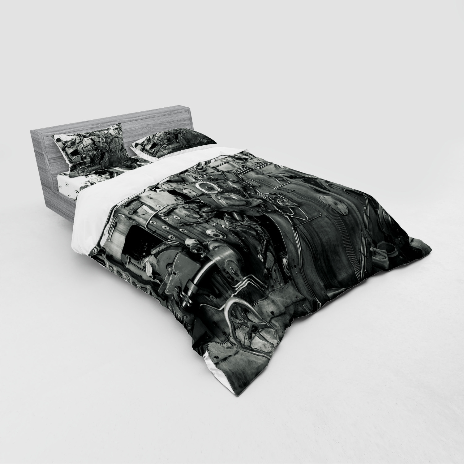 thumbnail 135 - Ambesonne Black White Art Bedding Set Duvet Cover Sham Fitted Sheet in 3 Sizes