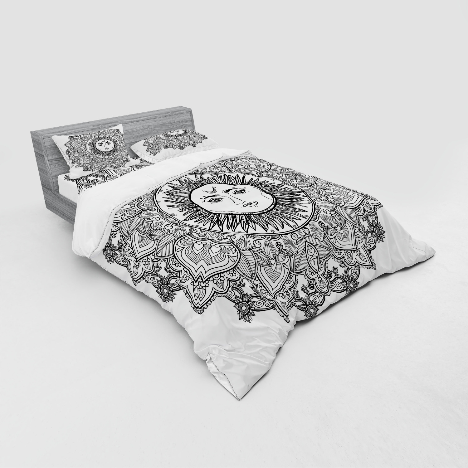 thumbnail 39 - Ambesonne Black White Art Bedding Set Duvet Cover Sham Fitted Sheet in 3 Sizes