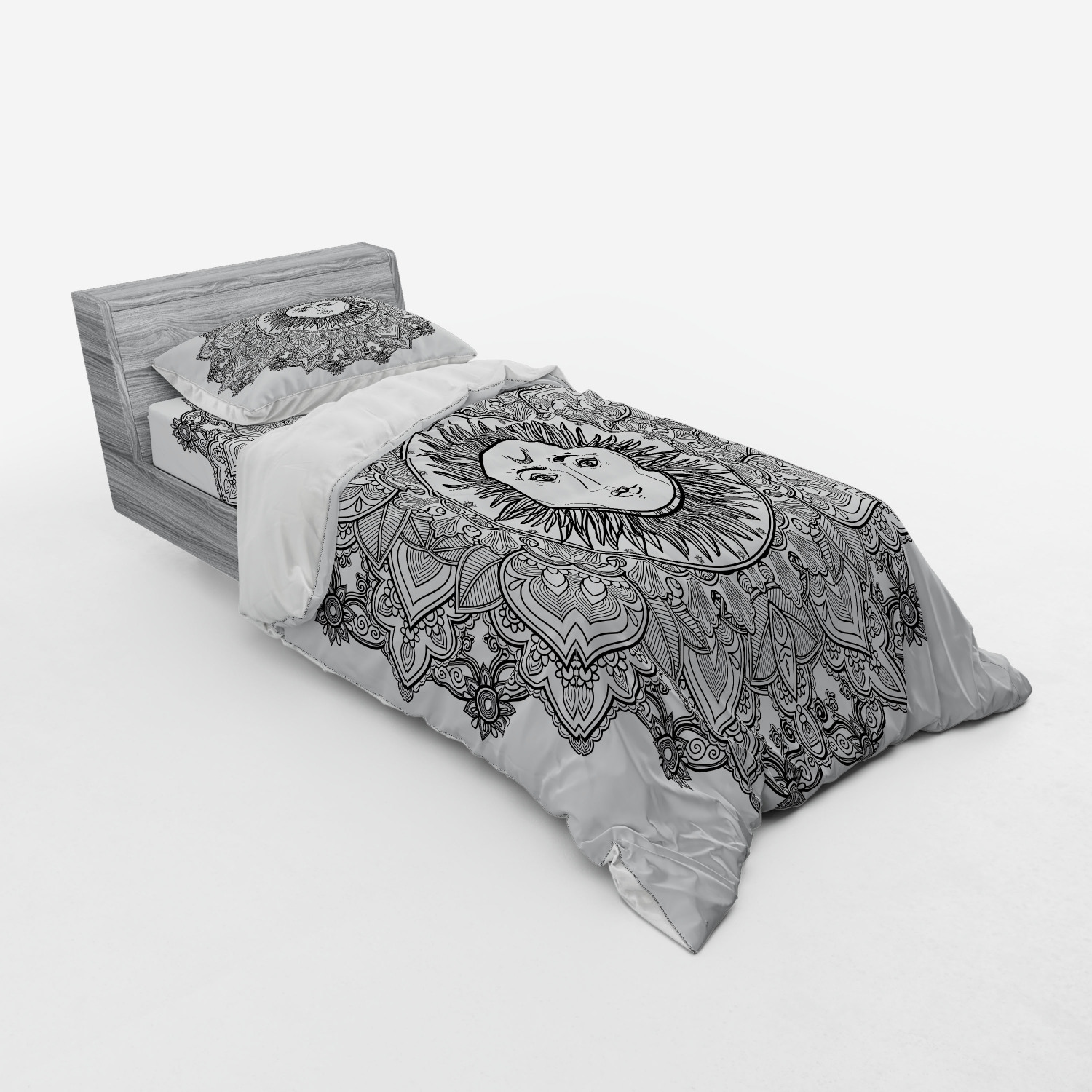 thumbnail 37 - Ambesonne Black White Art Bedding Set Duvet Cover Sham Fitted Sheet in 3 Sizes