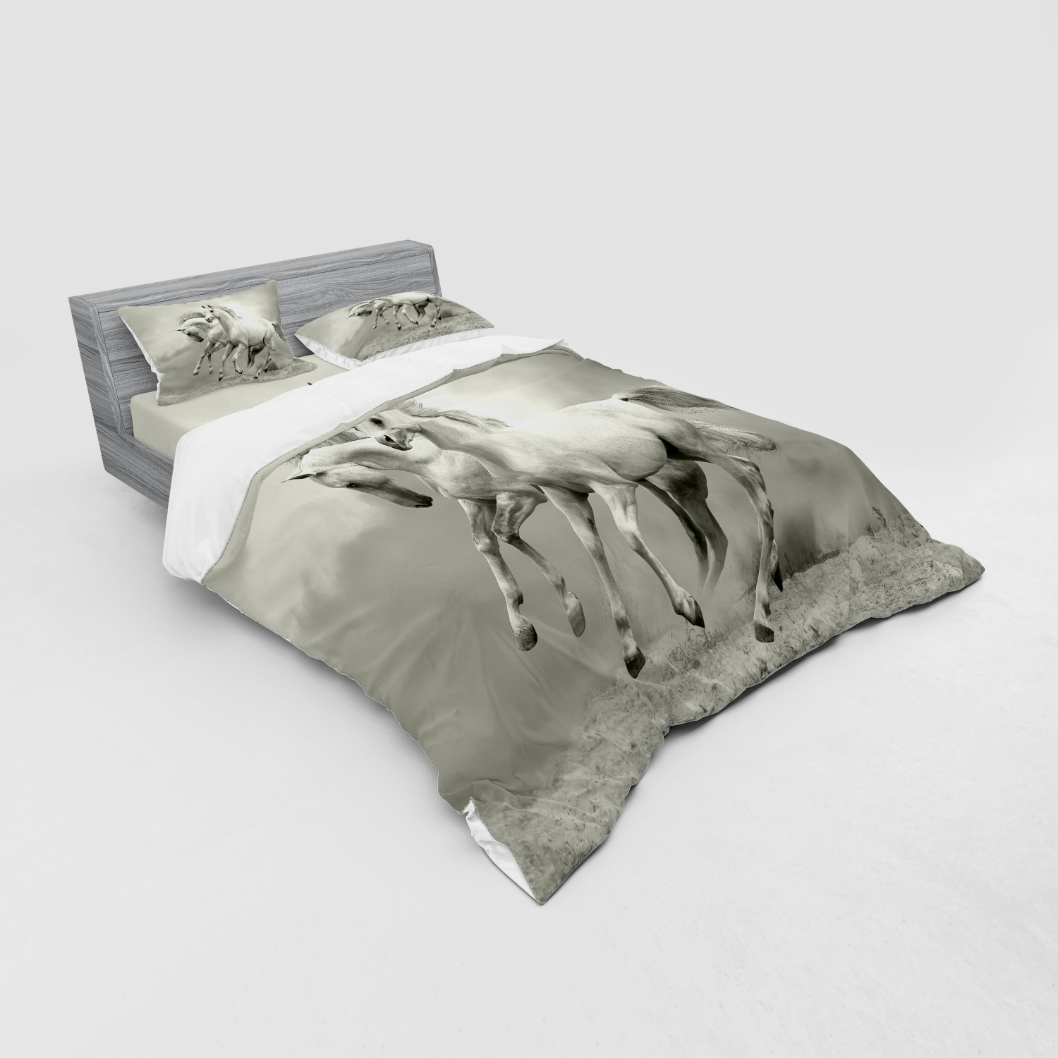 thumbnail 123 - Ambesonne Black White Art Bedding Set Duvet Cover Sham Fitted Sheet in 3 Sizes