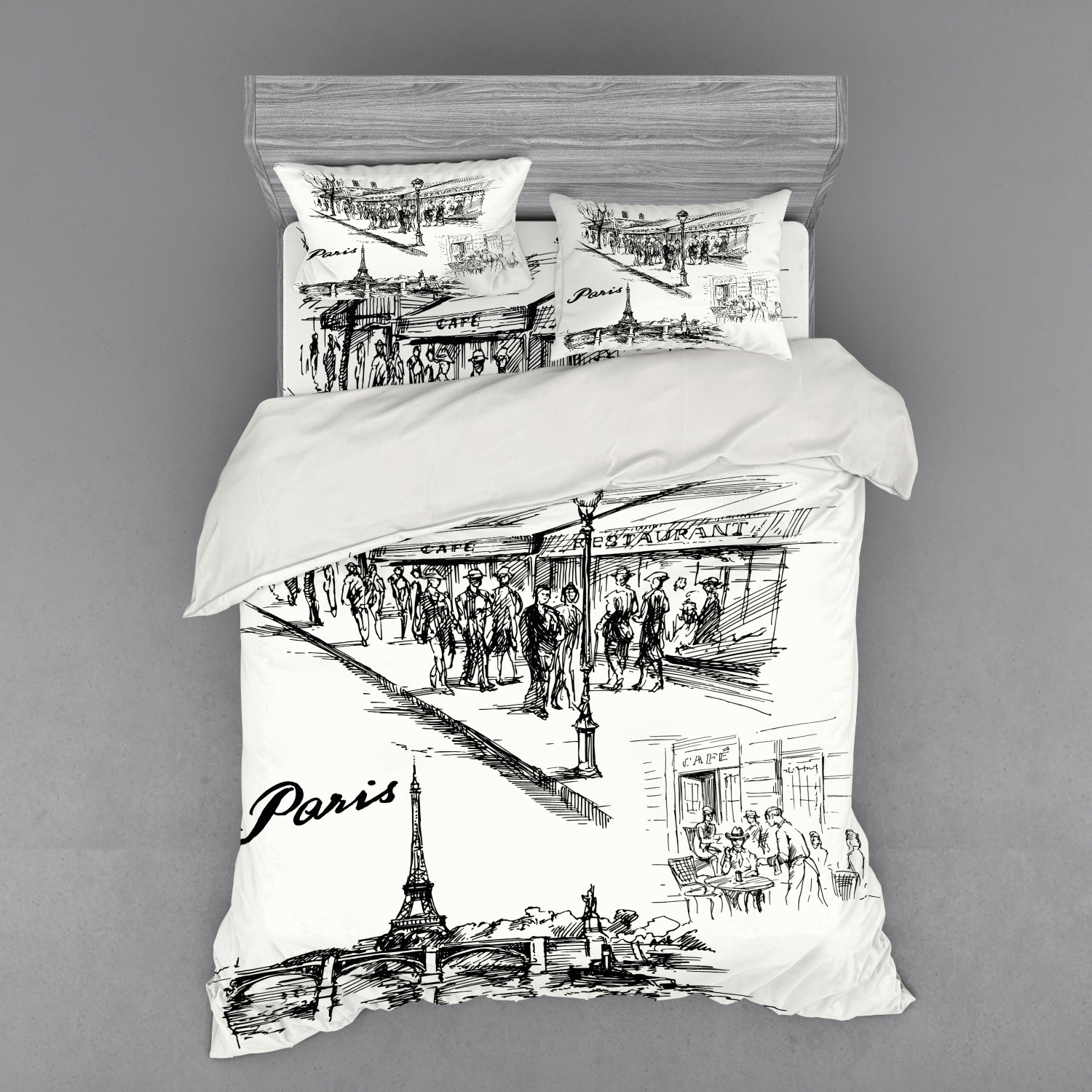 thumbnail 174 - Ambesonne Black White Art Bedding Set Duvet Cover Sham Fitted Sheet in 3 Sizes