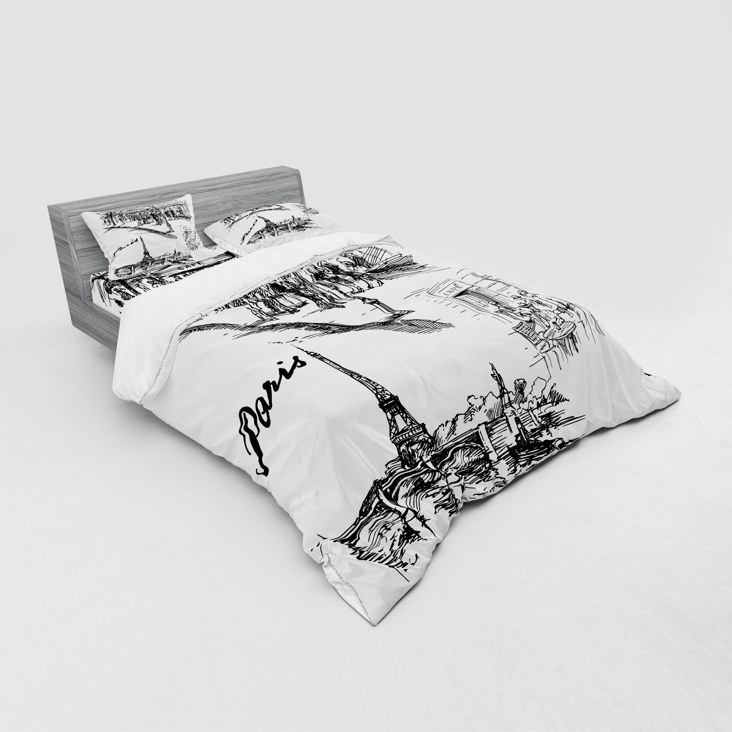 thumbnail 175 - Ambesonne Black White Art Bedding Set Duvet Cover Sham Fitted Sheet in 3 Sizes