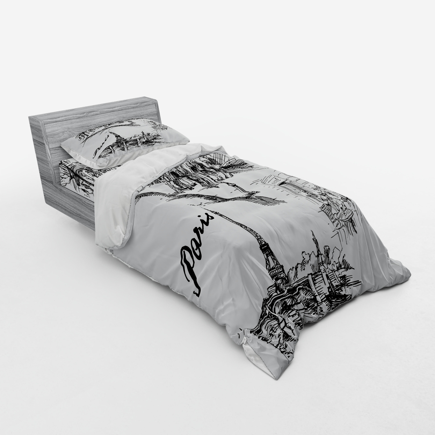 thumbnail 173 - Ambesonne Black White Art Bedding Set Duvet Cover Sham Fitted Sheet in 3 Sizes