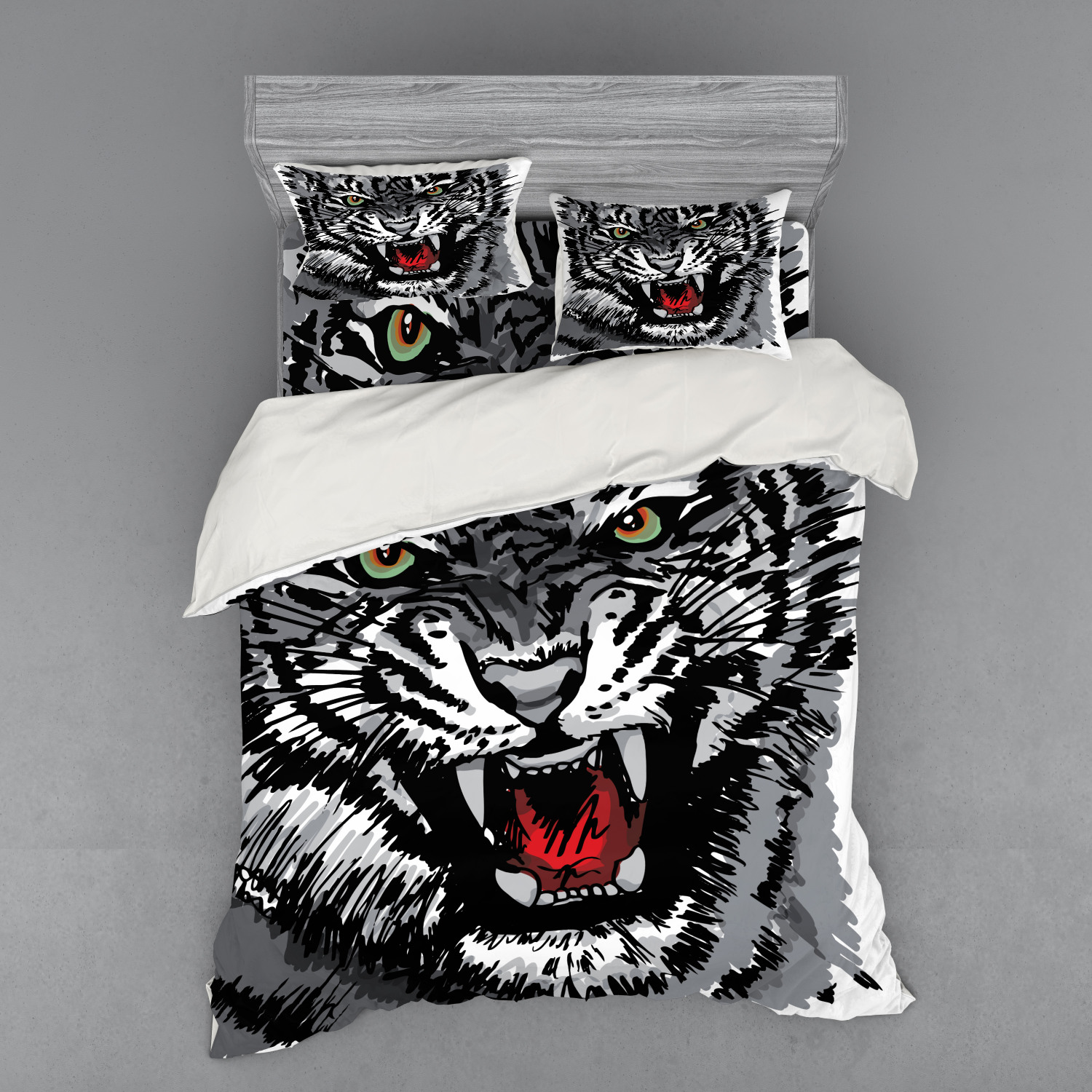 thumbnail 210 - Ambesonne Black White Art Bedding Set Duvet Cover Sham Fitted Sheet in 3 Sizes