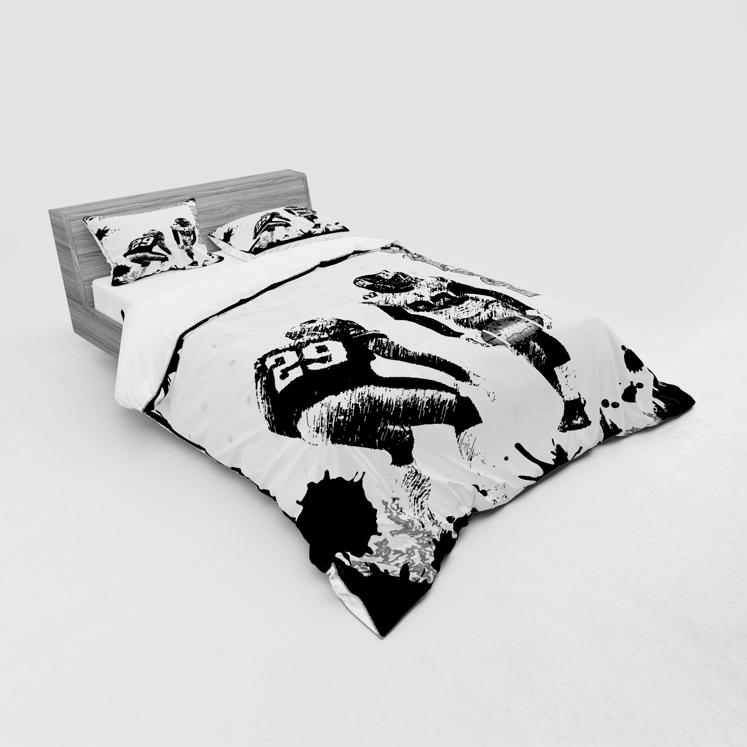 thumbnail 11 - Ambesonne Black White Art Bedding Set Duvet Cover Sham Fitted Sheet in 3 Sizes