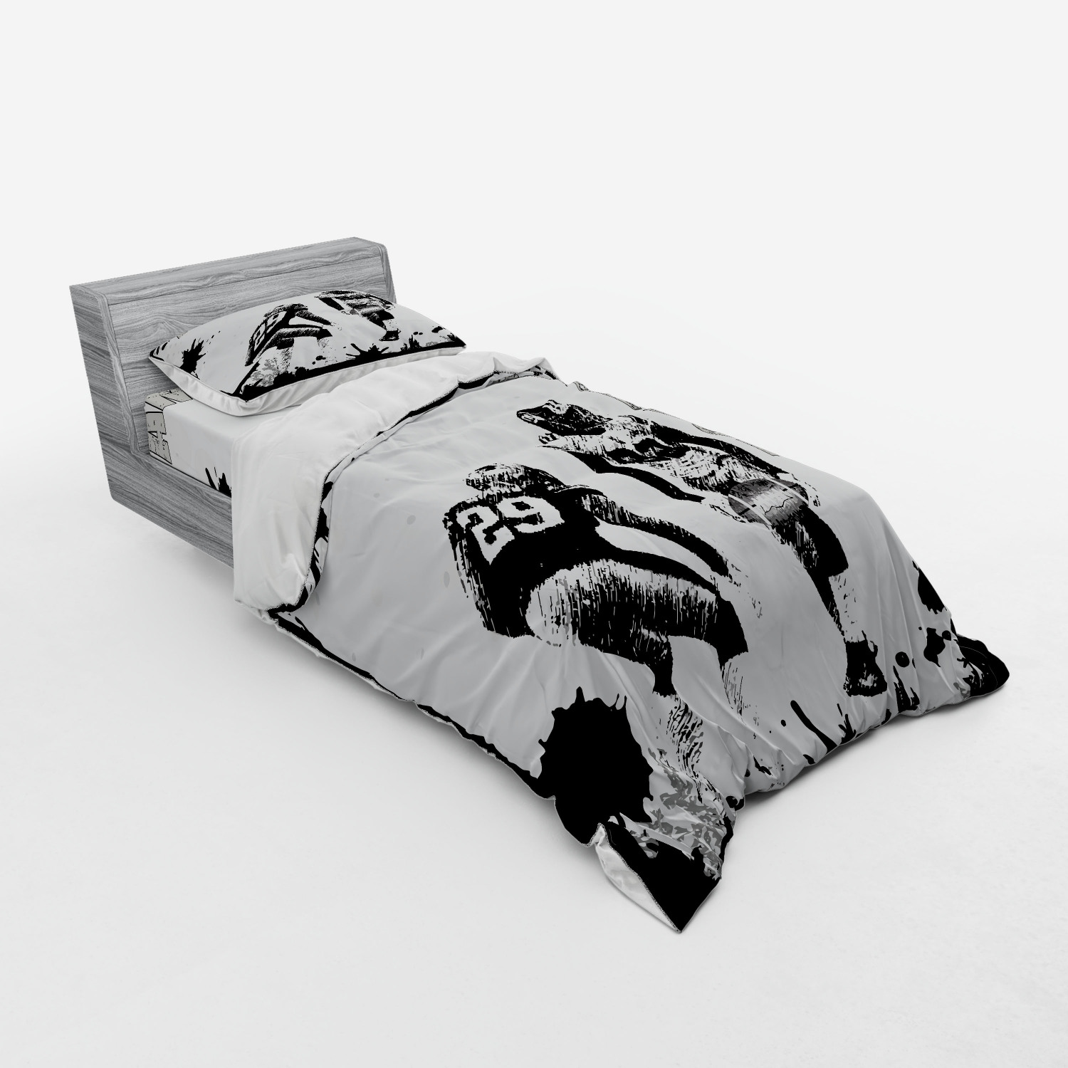 thumbnail 9 - Ambesonne Black White Art Bedding Set Duvet Cover Sham Fitted Sheet in 3 Sizes