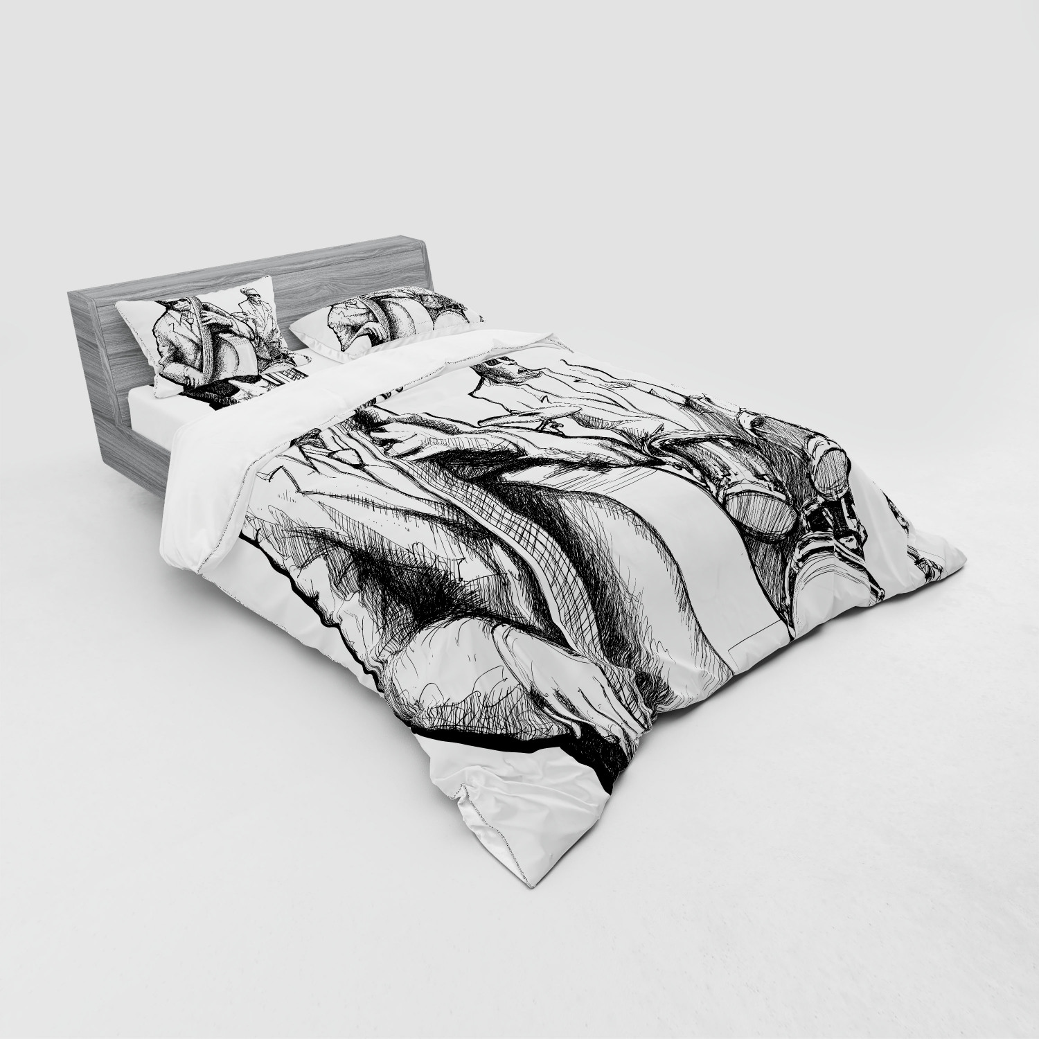 thumbnail 131 - Ambesonne Black White Art Bedding Set Duvet Cover Sham Fitted Sheet in 3 Sizes