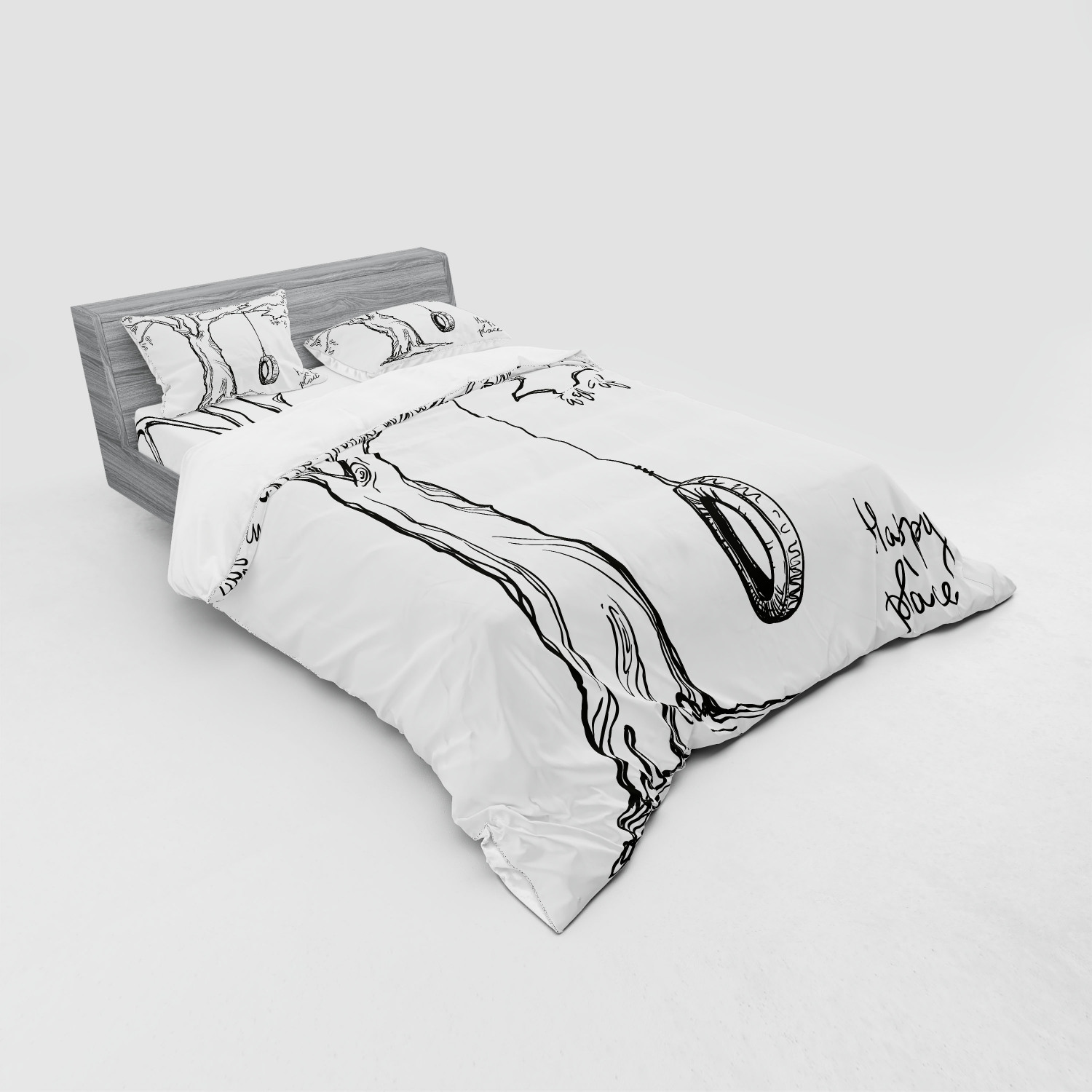 thumbnail 115 - Ambesonne Black White Art Bedding Set Duvet Cover Sham Fitted Sheet in 3 Sizes