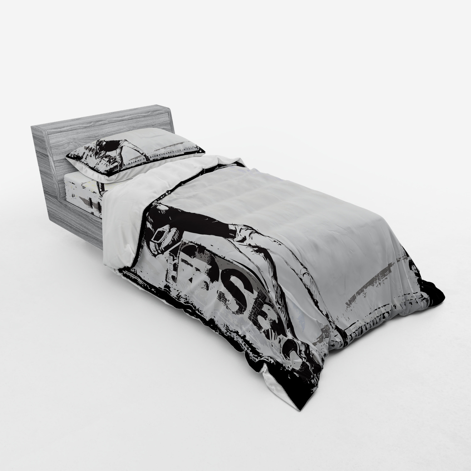 thumbnail 29 - Ambesonne Black White Art Bedding Set Duvet Cover Sham Fitted Sheet in 3 Sizes
