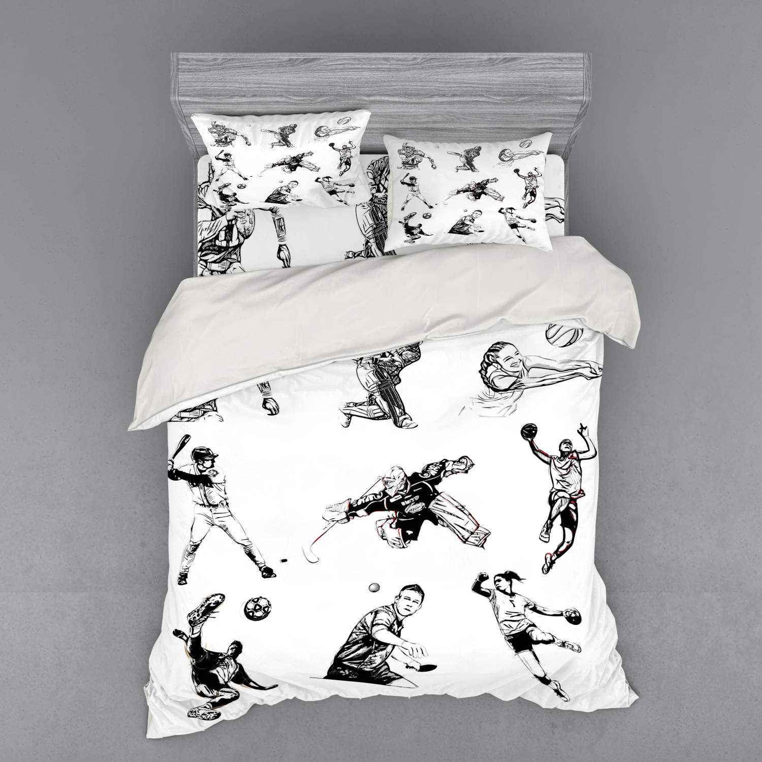 thumbnail 190 - Ambesonne Black White Art Bedding Set Duvet Cover Sham Fitted Sheet in 3 Sizes