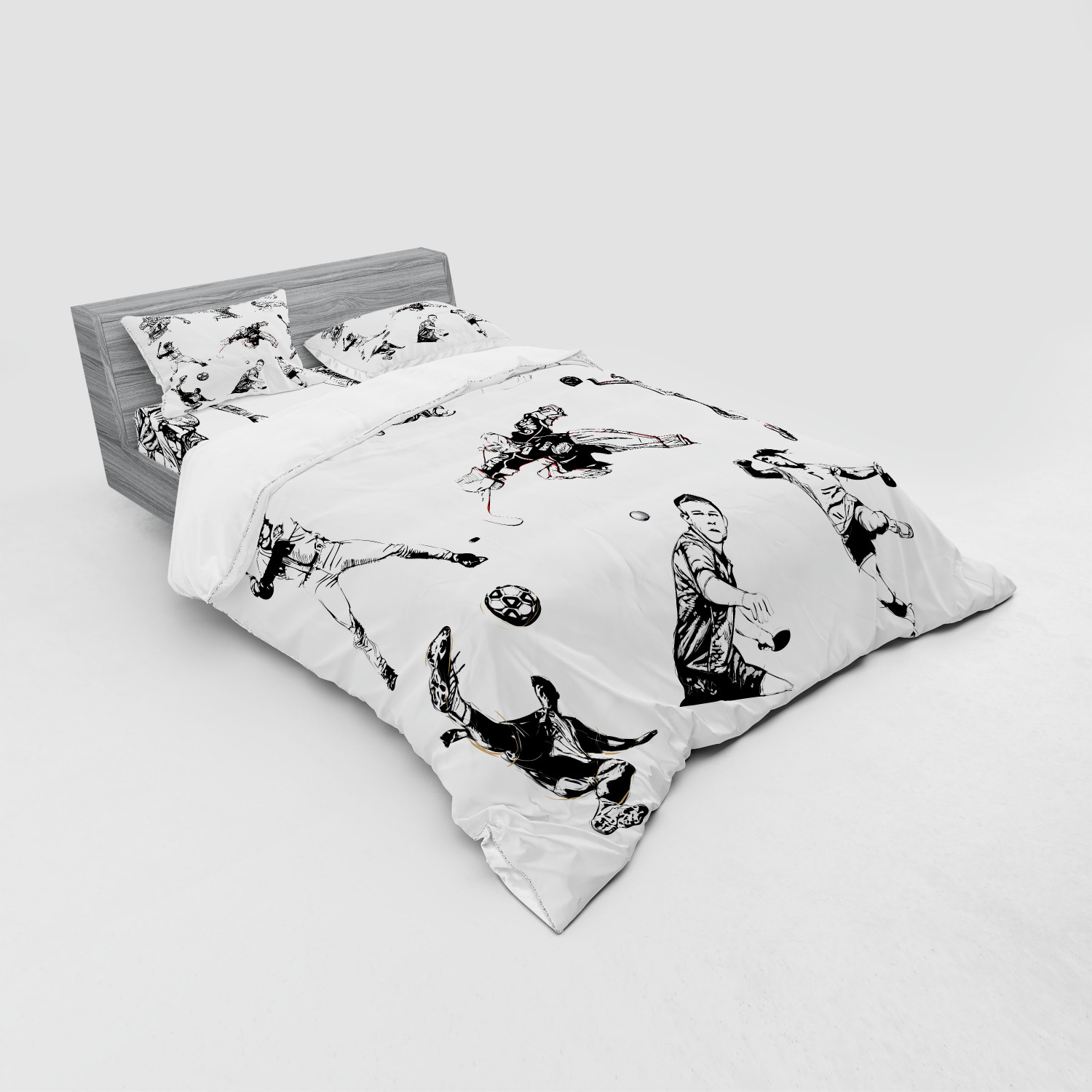thumbnail 191 - Ambesonne Black White Art Bedding Set Duvet Cover Sham Fitted Sheet in 3 Sizes