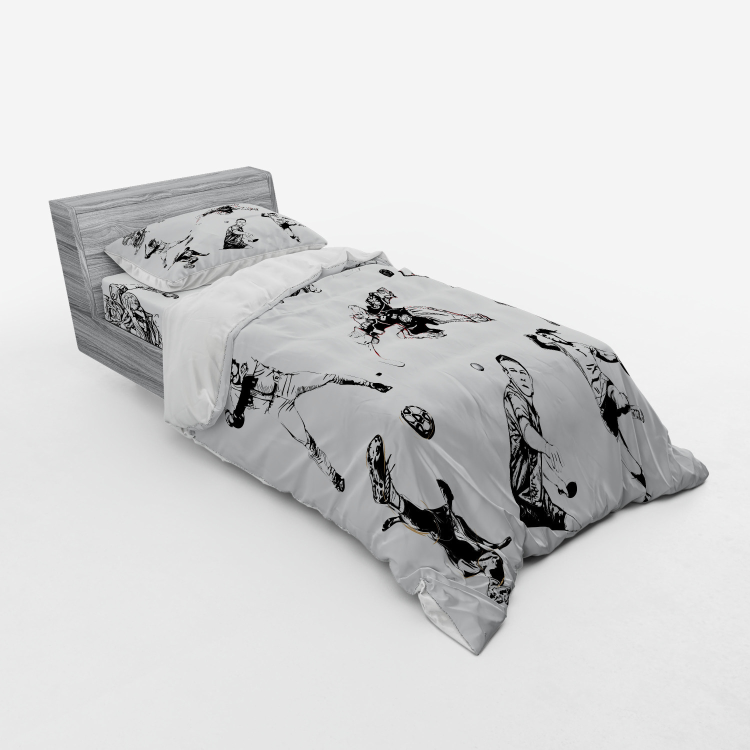 thumbnail 189 - Ambesonne Black White Art Bedding Set Duvet Cover Sham Fitted Sheet in 3 Sizes
