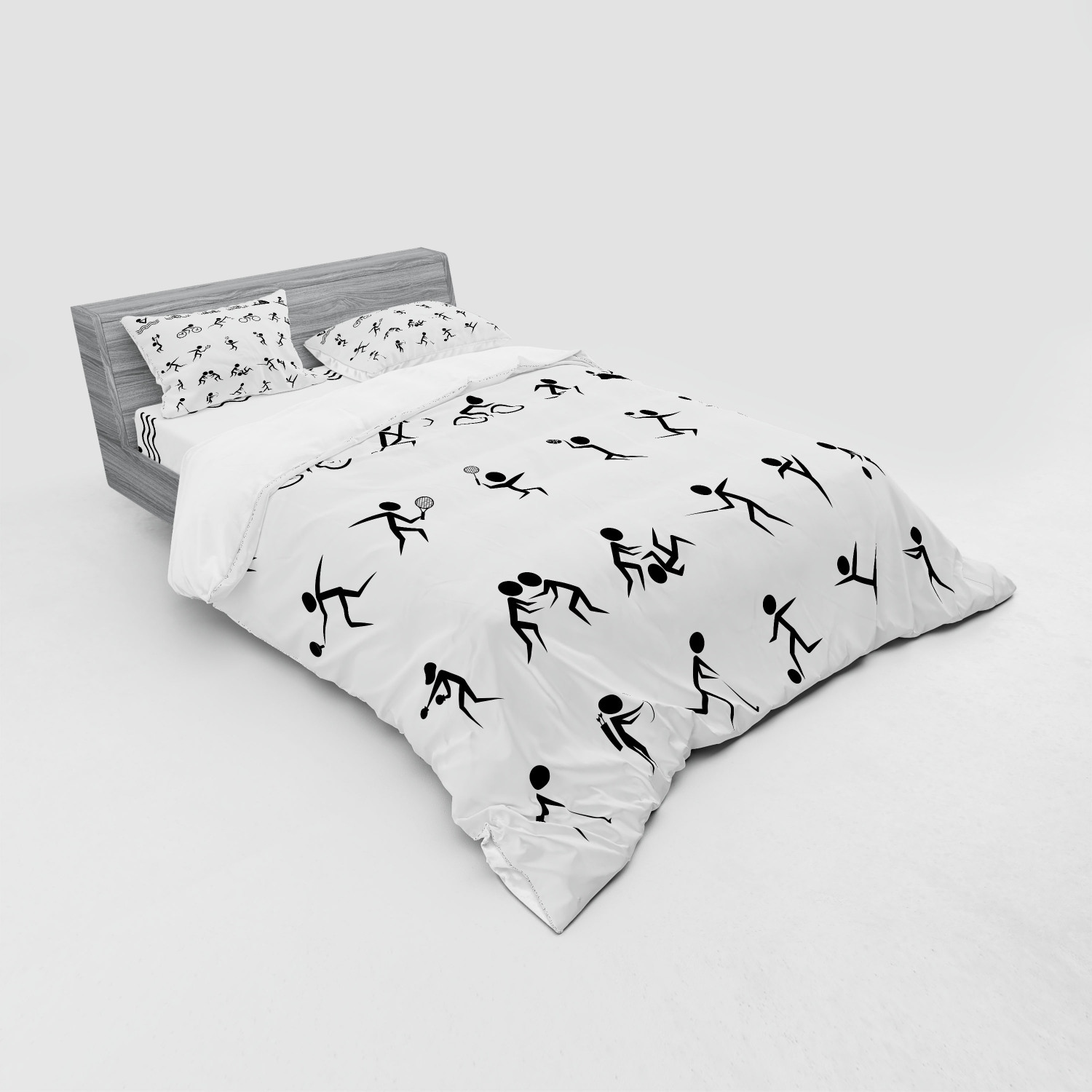 thumbnail 199 - Ambesonne Black White Art Bedding Set Duvet Cover Sham Fitted Sheet in 3 Sizes
