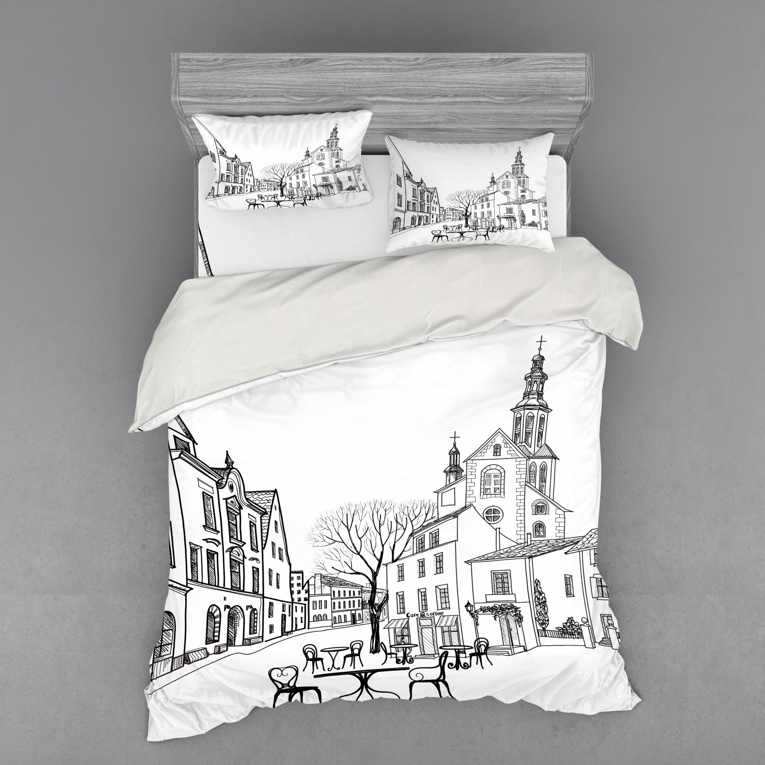 thumbnail 154 - Ambesonne Black White Art Bedding Set Duvet Cover Sham Fitted Sheet in 3 Sizes