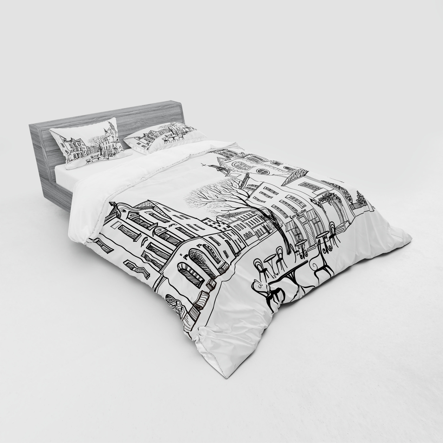 thumbnail 155 - Ambesonne Black White Art Bedding Set Duvet Cover Sham Fitted Sheet in 3 Sizes