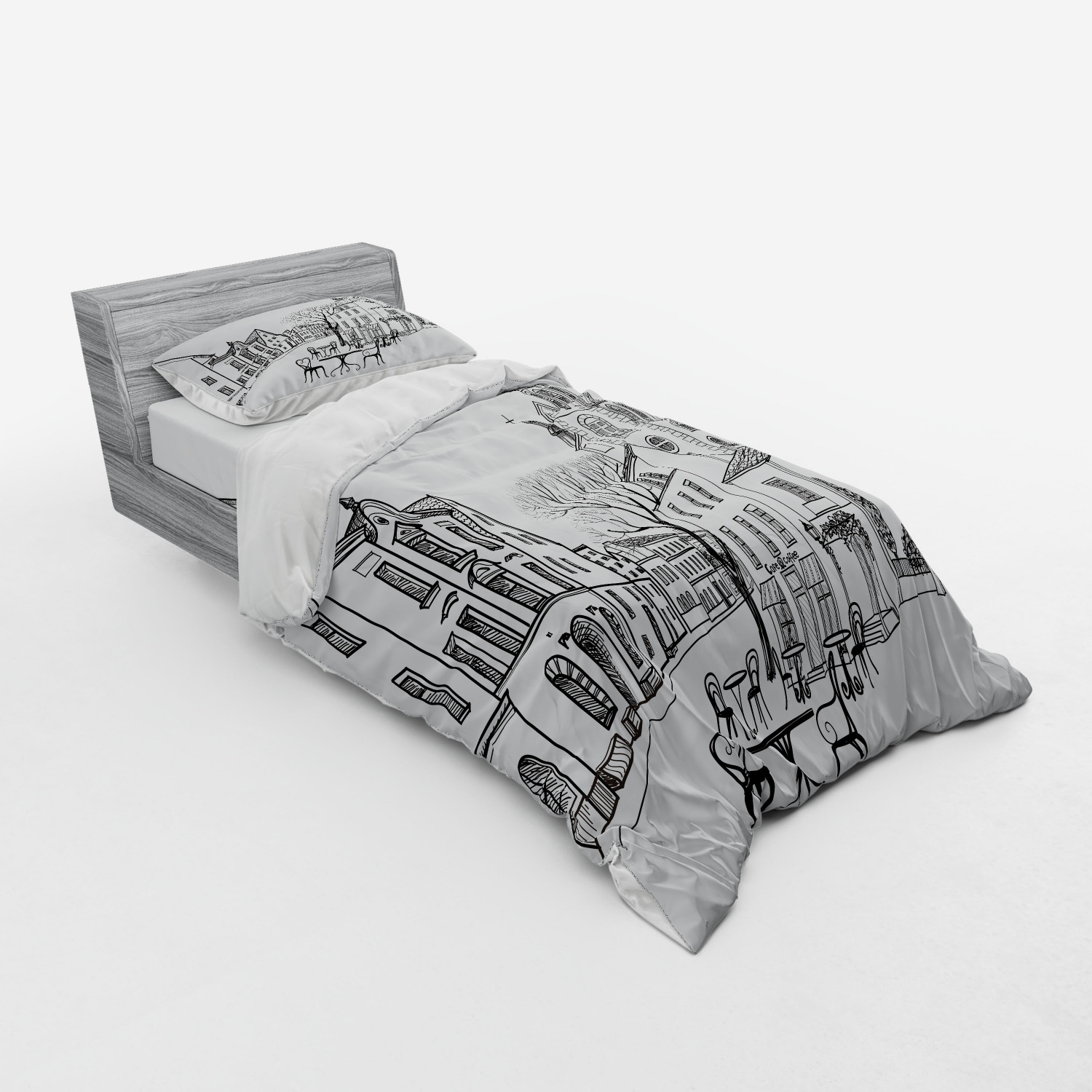 thumbnail 153 - Ambesonne Black White Art Bedding Set Duvet Cover Sham Fitted Sheet in 3 Sizes