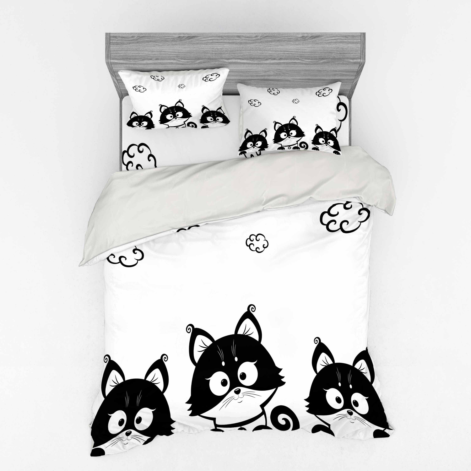 thumbnail 6 - Ambesonne Black White Art Bedding Set Duvet Cover Sham Fitted Sheet in 3 Sizes