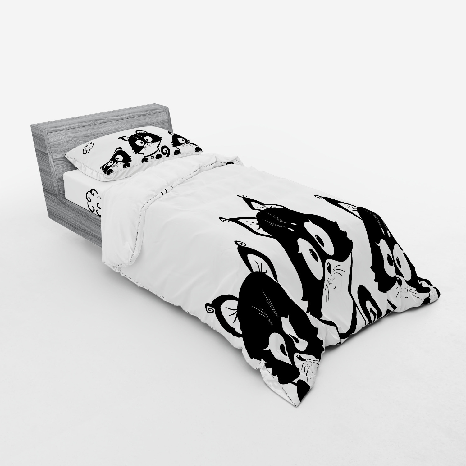 thumbnail 5 - Ambesonne Black White Art Bedding Set Duvet Cover Sham Fitted Sheet in 3 Sizes