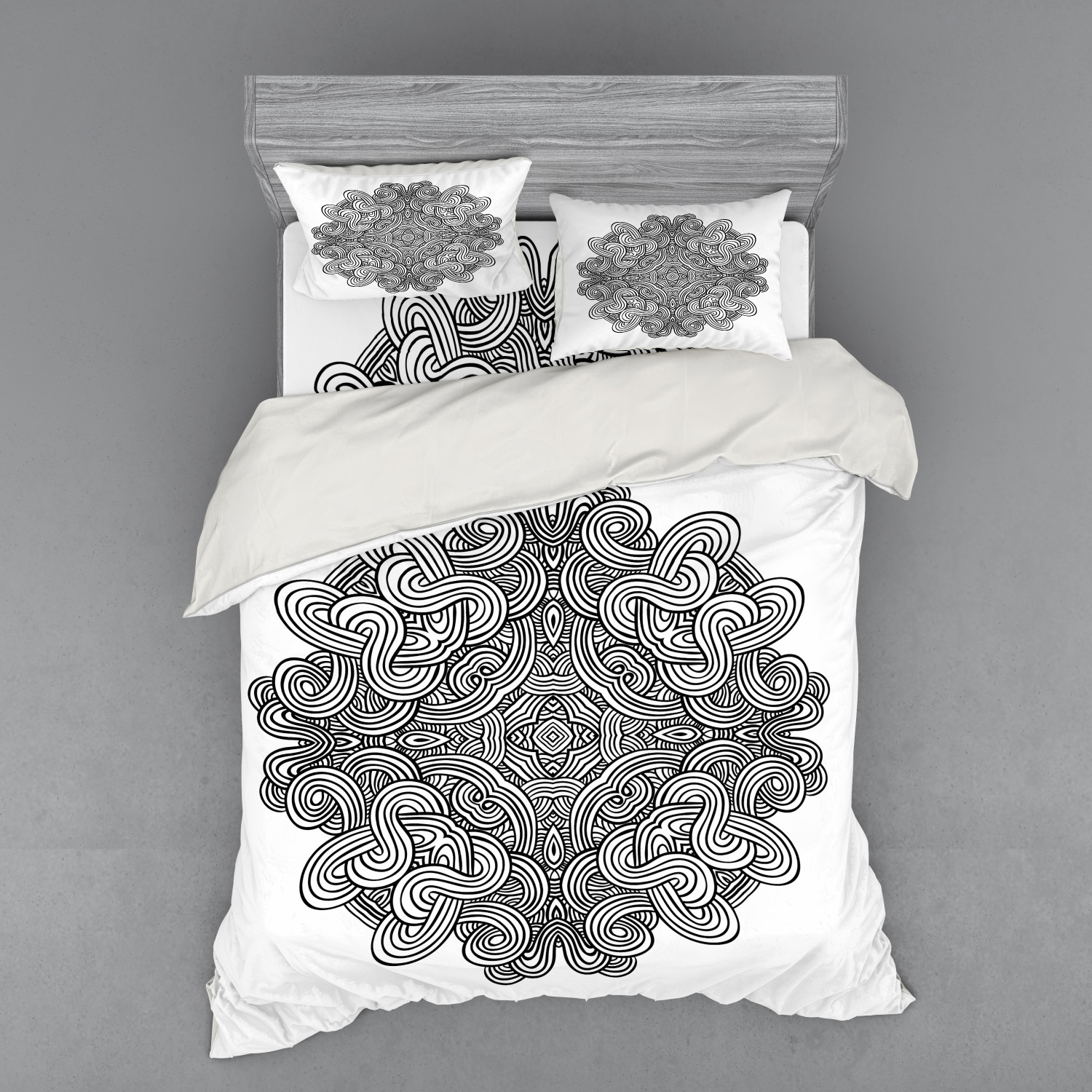 thumbnail 54 - Ambesonne Black White Art Bedding Set Duvet Cover Sham Fitted Sheet in 3 Sizes