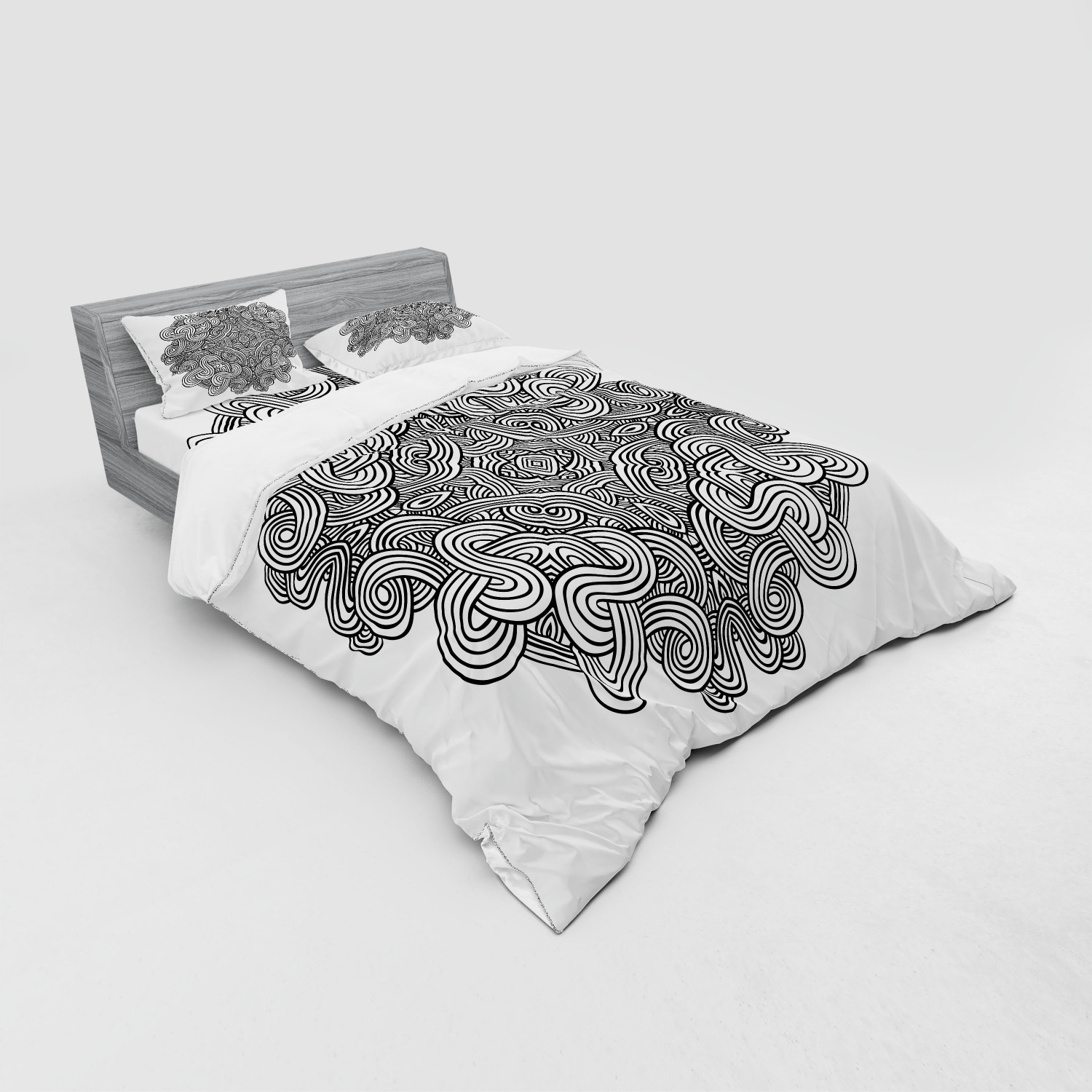 thumbnail 55 - Ambesonne Black White Art Bedding Set Duvet Cover Sham Fitted Sheet in 3 Sizes