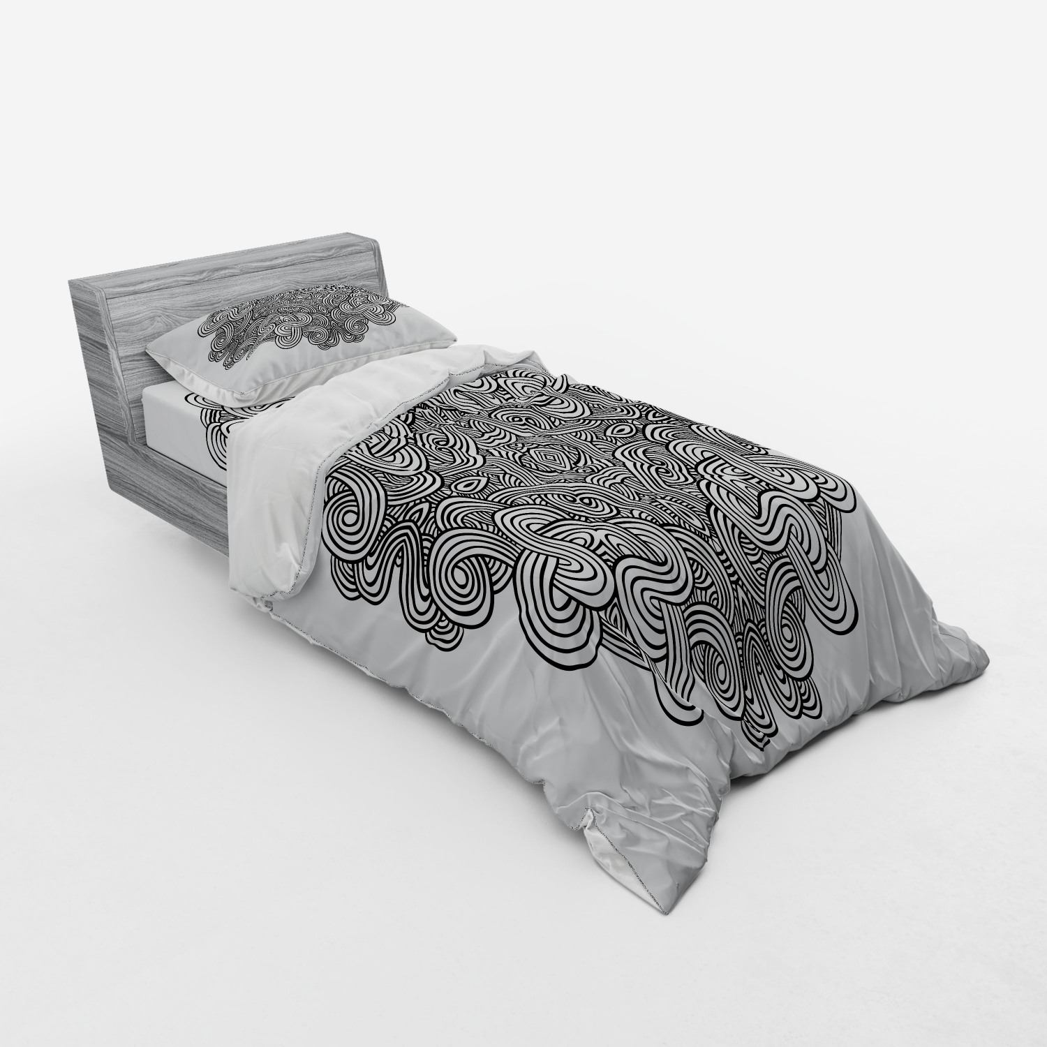 thumbnail 53 - Ambesonne Black White Art Bedding Set Duvet Cover Sham Fitted Sheet in 3 Sizes